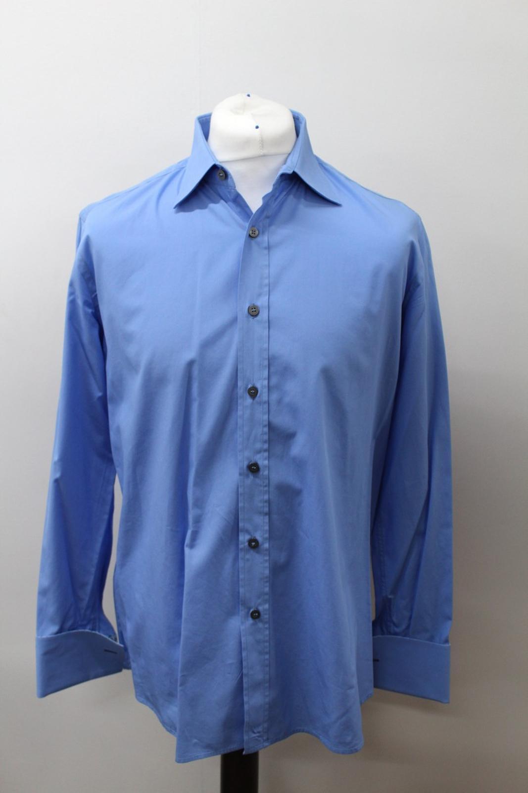 Paul-Smith-Hombres-Azul-Algodon-Mangas-Largas-Camisa-De-Puno-Doble-Cuello-16-5-034-42cm miniatura 2