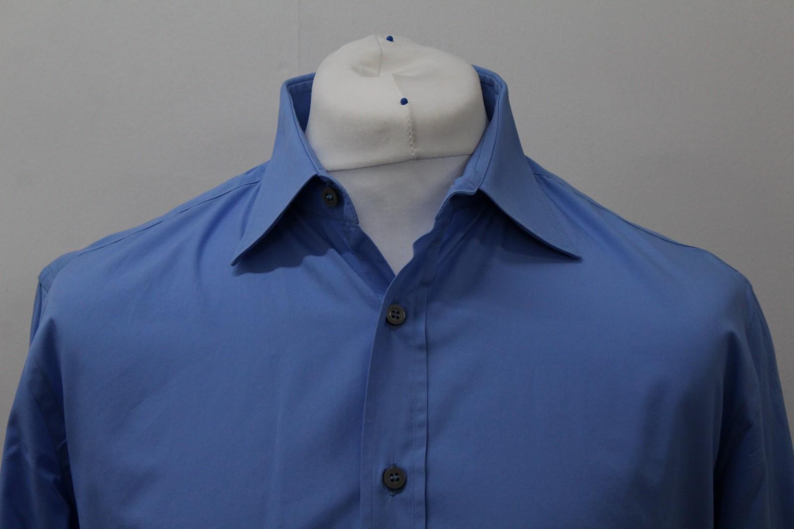 Paul-Smith-Hombres-Azul-Algodon-Mangas-Largas-Camisa-De-Puno-Doble-Cuello-16-5-034-42cm miniatura 3