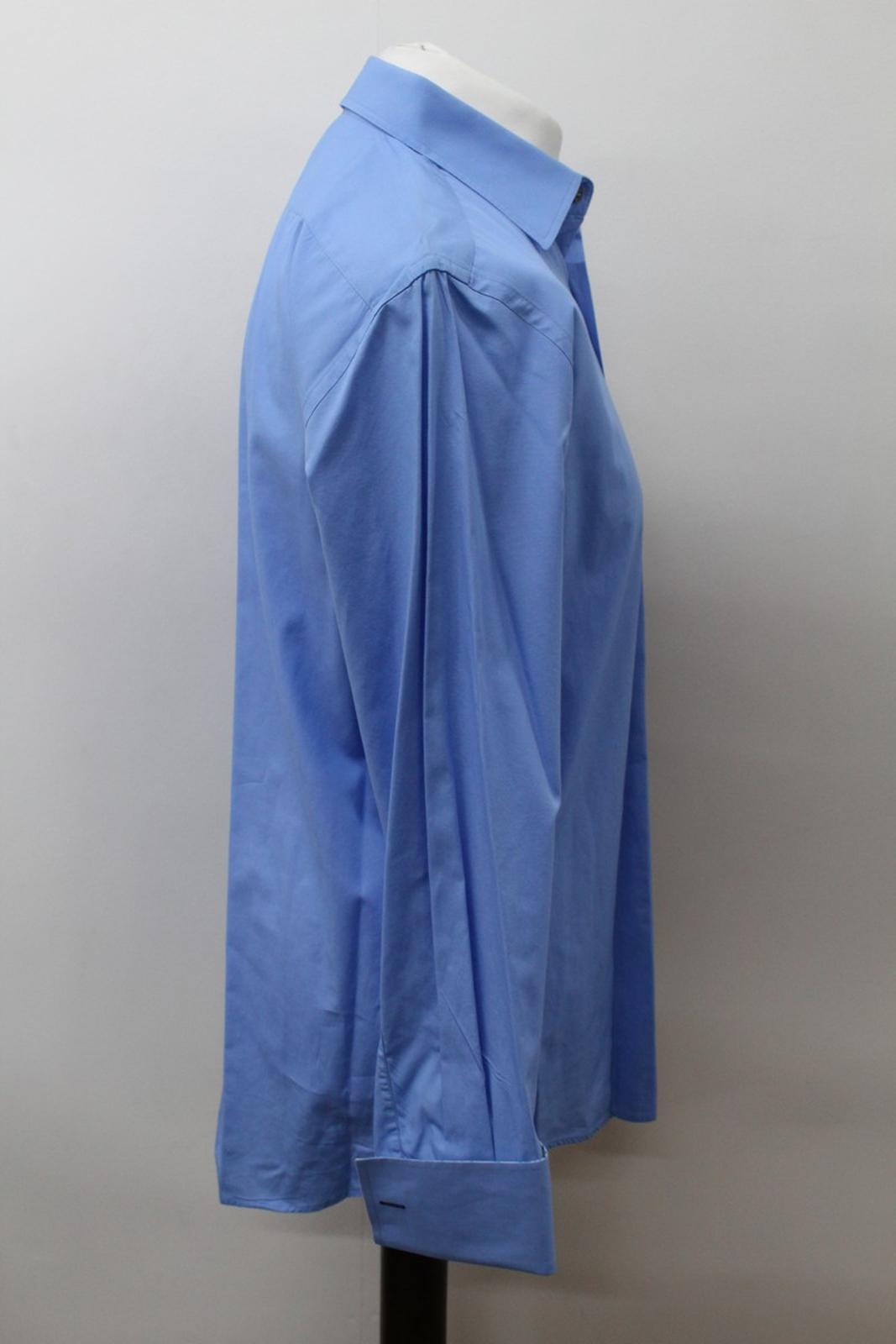 Paul-Smith-Hombres-Azul-Algodon-Mangas-Largas-Camisa-De-Puno-Doble-Cuello-16-5-034-42cm miniatura 4
