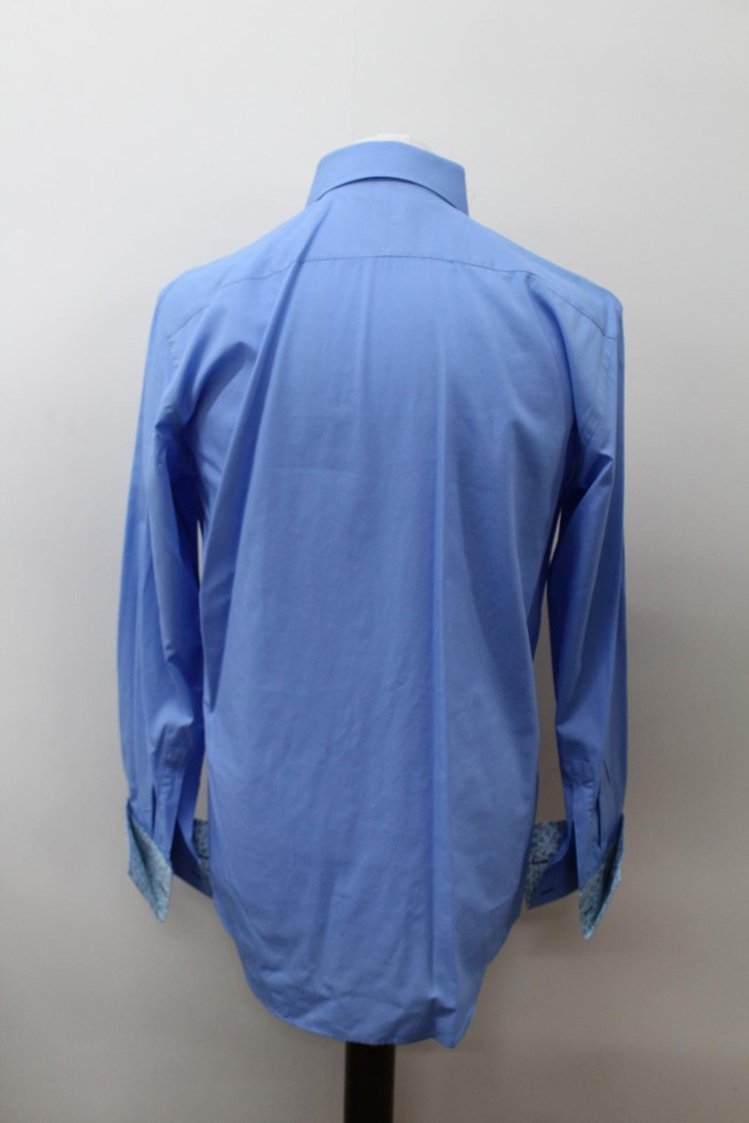 Paul-Smith-Hombres-Azul-Algodon-Mangas-Largas-Camisa-De-Puno-Doble-Cuello-16-5-034-42cm miniatura 5