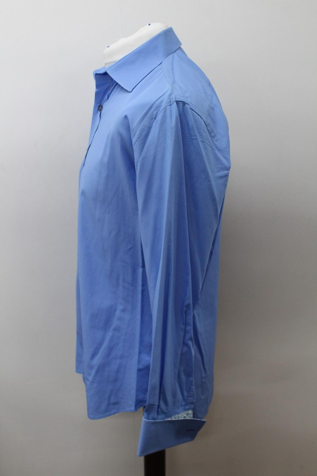 Paul-Smith-Hombres-Azul-Algodon-Mangas-Largas-Camisa-De-Puno-Doble-Cuello-16-5-034-42cm miniatura 6