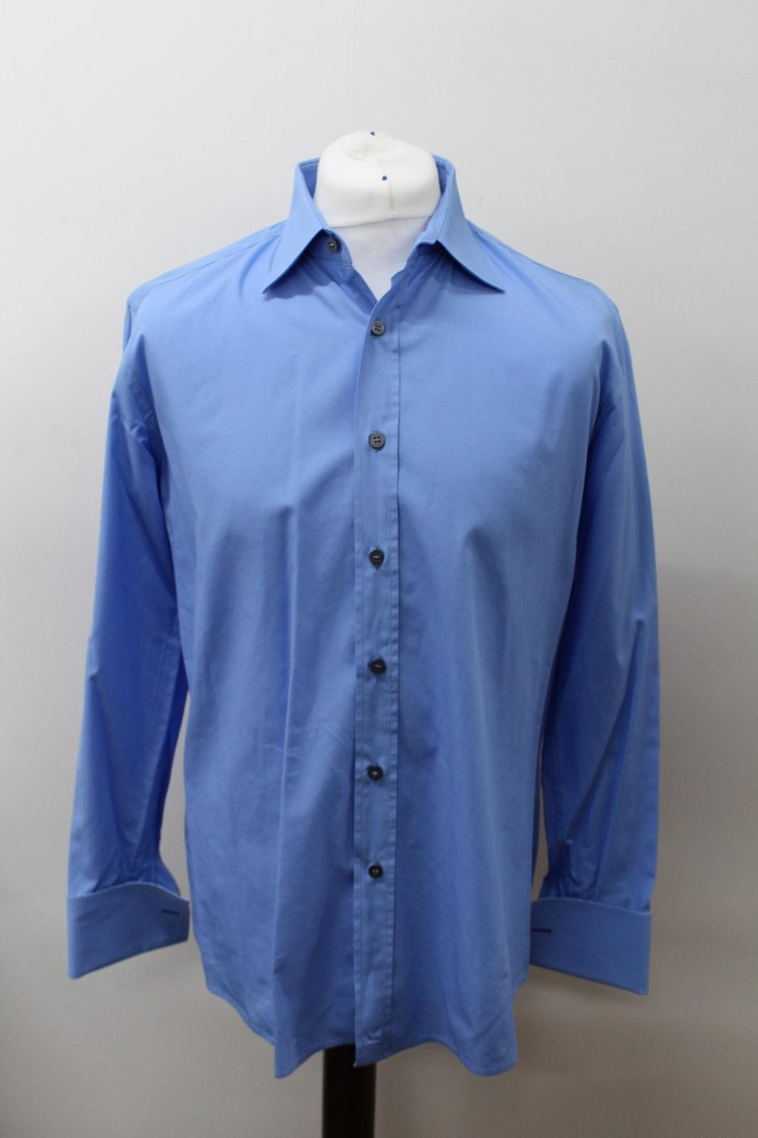 Paul-Smith-Hombres-Azul-Algodon-Mangas-Largas-Camisa-De-Puno-Doble-Cuello-16-5-034-42cm miniatura 7