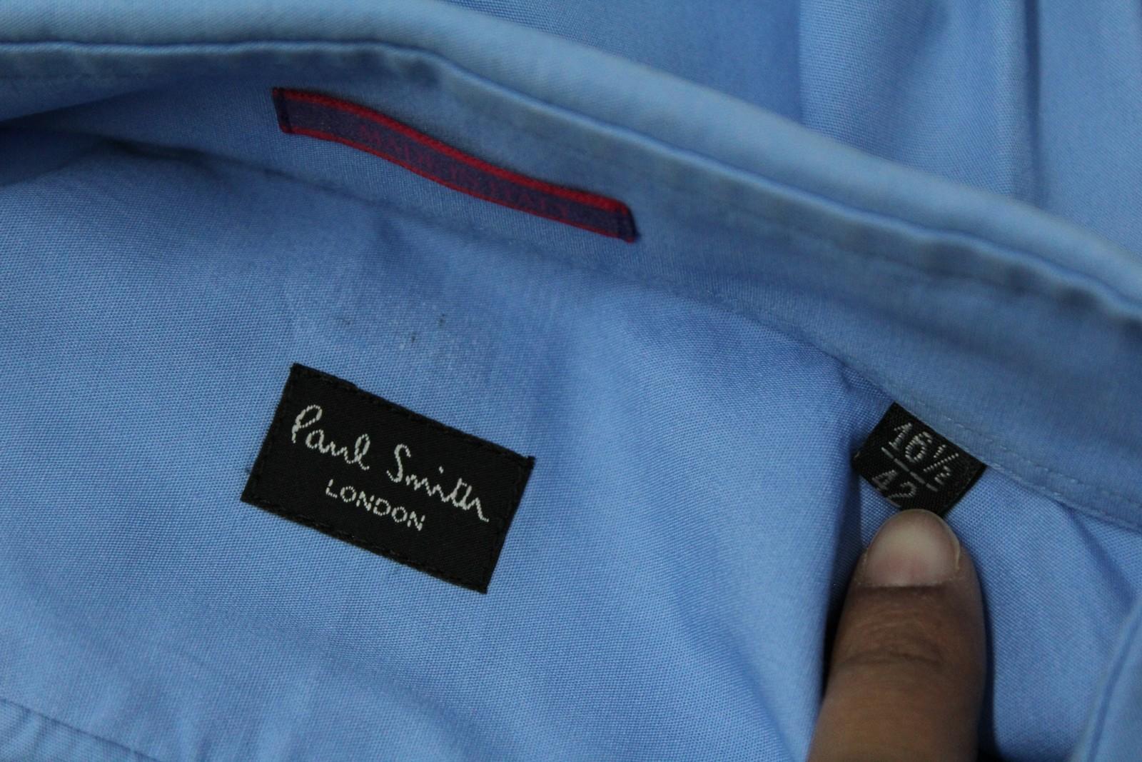 Paul-Smith-Hombres-Azul-Algodon-Mangas-Largas-Camisa-De-Puno-Doble-Cuello-16-5-034-42cm miniatura 10
