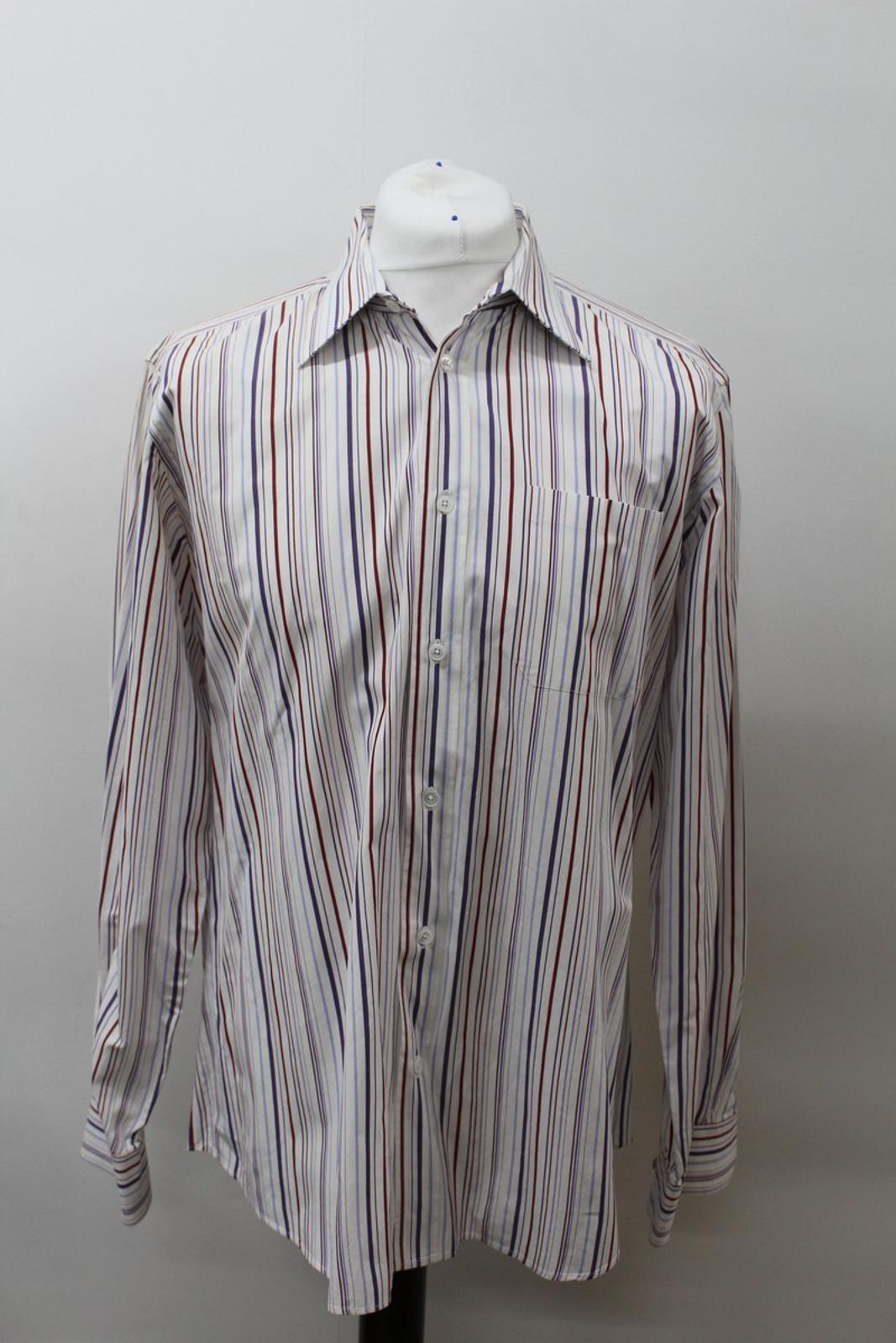 Hermes-para-hombre-Multi-Color-a-rayas-de-algodon-camisa-de-mangas-largas-cuello-16-5-034-42cm miniatura 2