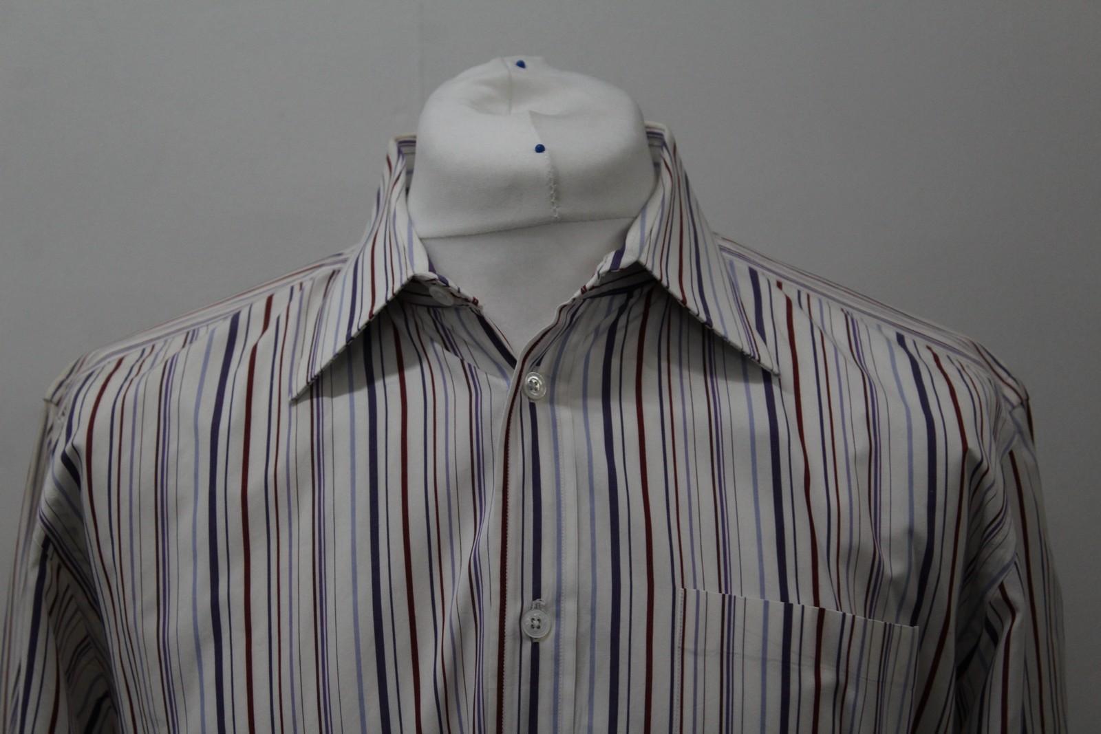 Hermes-para-hombre-Multi-Color-a-rayas-de-algodon-camisa-de-mangas-largas-cuello-16-5-034-42cm miniatura 3