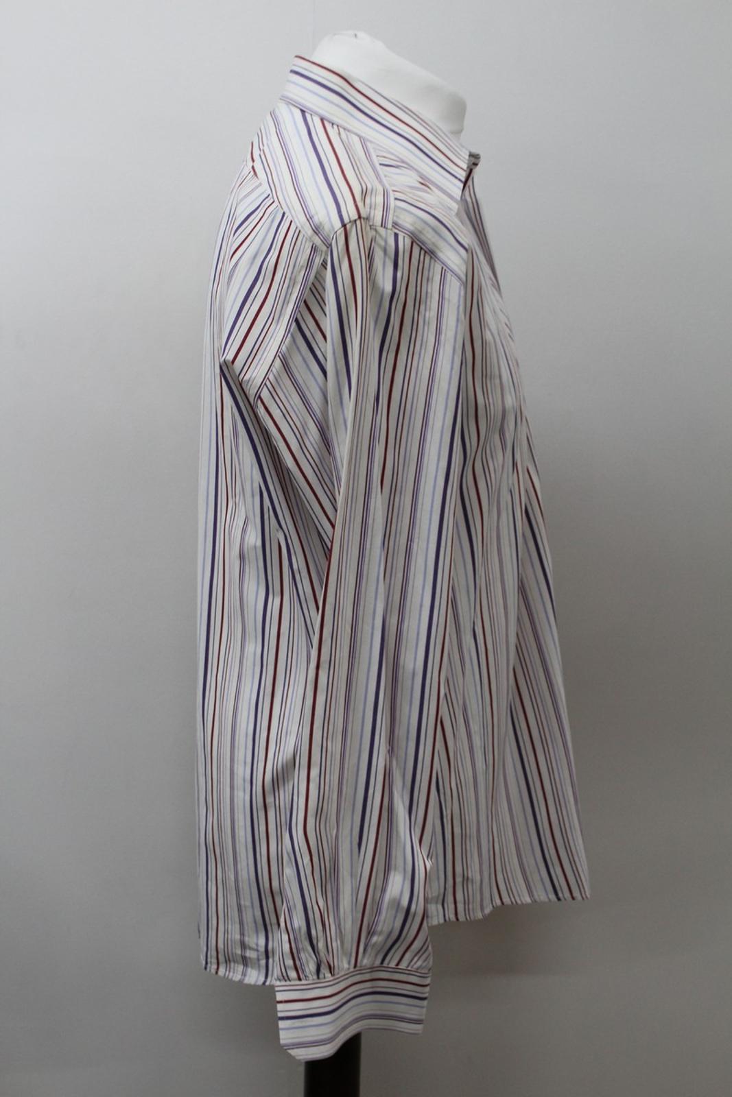 Hermes-para-hombre-Multi-Color-a-rayas-de-algodon-camisa-de-mangas-largas-cuello-16-5-034-42cm miniatura 4