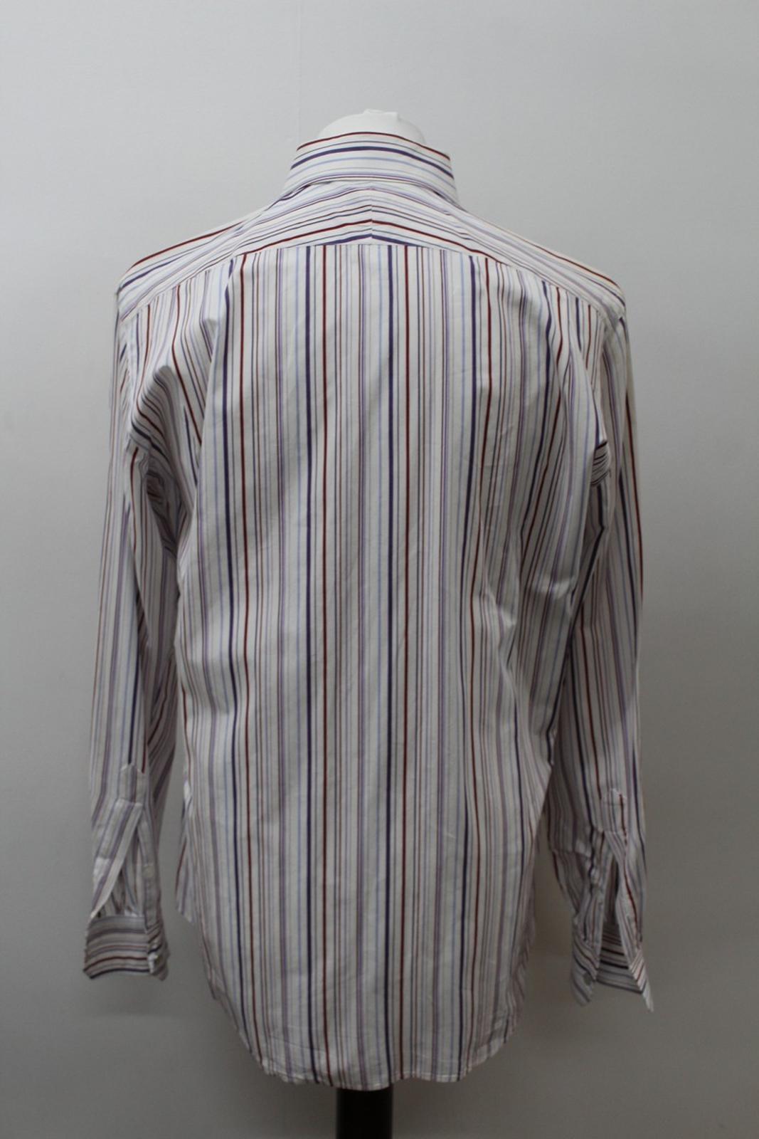 Hermes-para-hombre-Multi-Color-a-rayas-de-algodon-camisa-de-mangas-largas-cuello-16-5-034-42cm miniatura 5