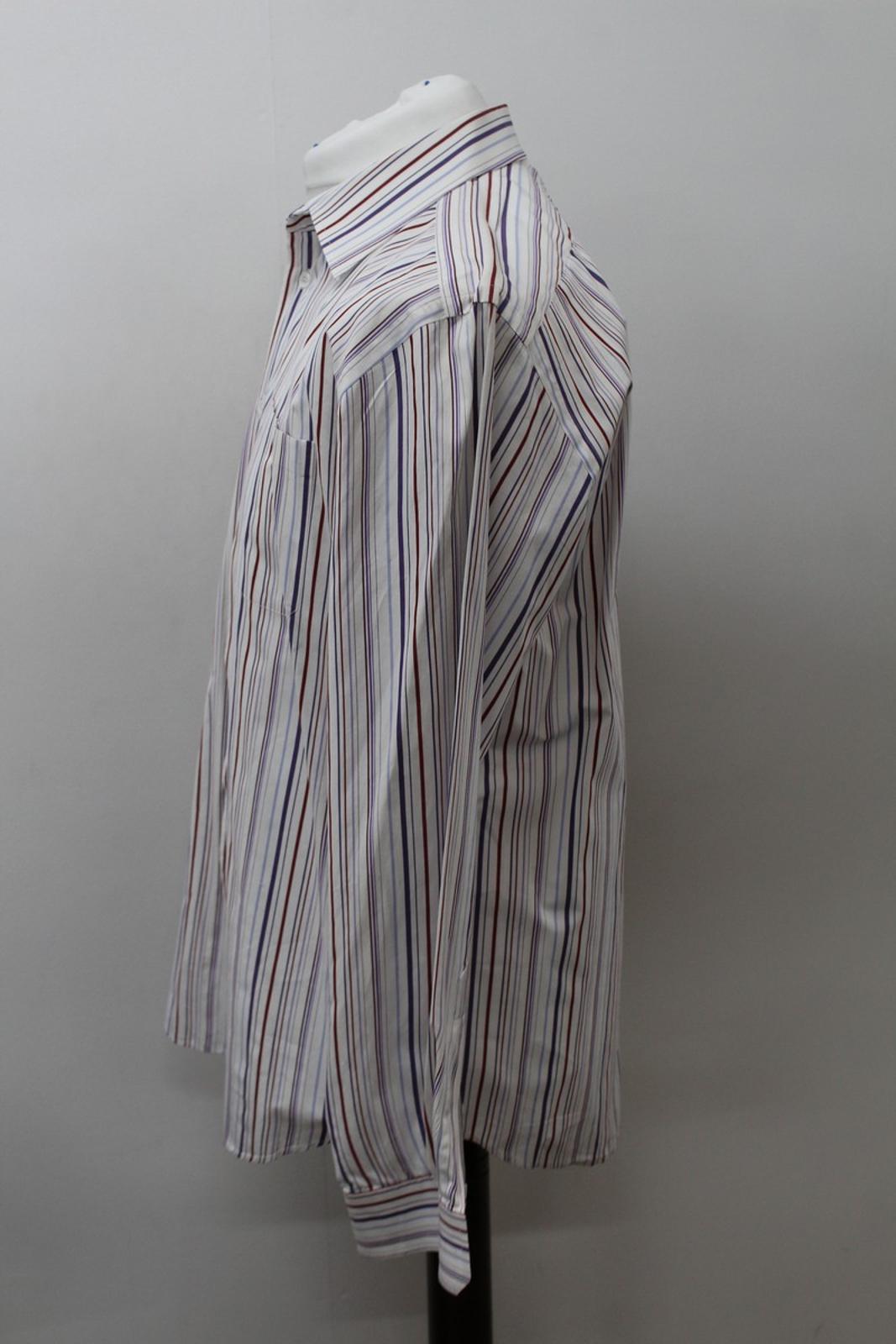 Hermes-para-hombre-Multi-Color-a-rayas-de-algodon-camisa-de-mangas-largas-cuello-16-5-034-42cm miniatura 6