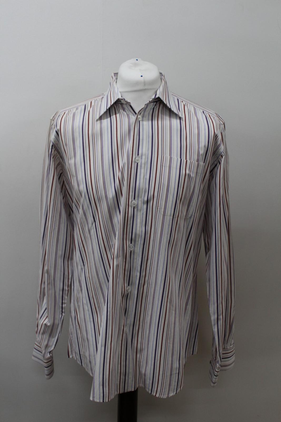 Hermes-para-hombre-Multi-Color-a-rayas-de-algodon-camisa-de-mangas-largas-cuello-16-5-034-42cm miniatura 7