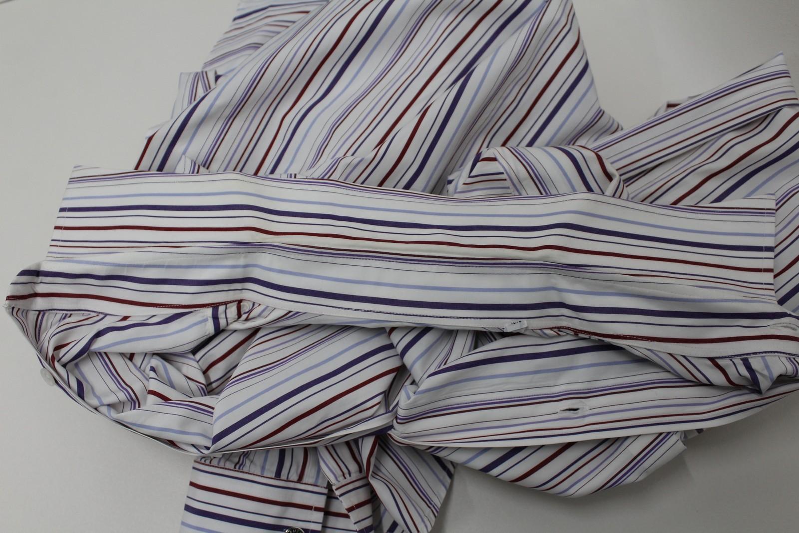 Hermes-para-hombre-Multi-Color-a-rayas-de-algodon-camisa-de-mangas-largas-cuello-16-5-034-42cm miniatura 8