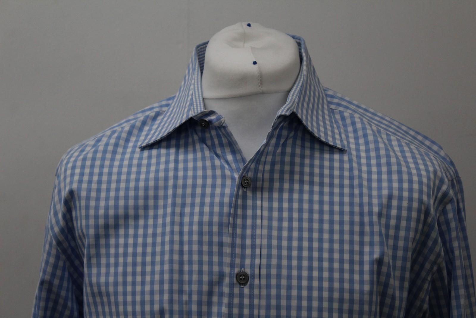 Paul-Smith-Para-Hombre-Camisa-Azul-Blanco-Algodon-comprobado-Formal-Cuello-16-5-034-42cm miniatura 3
