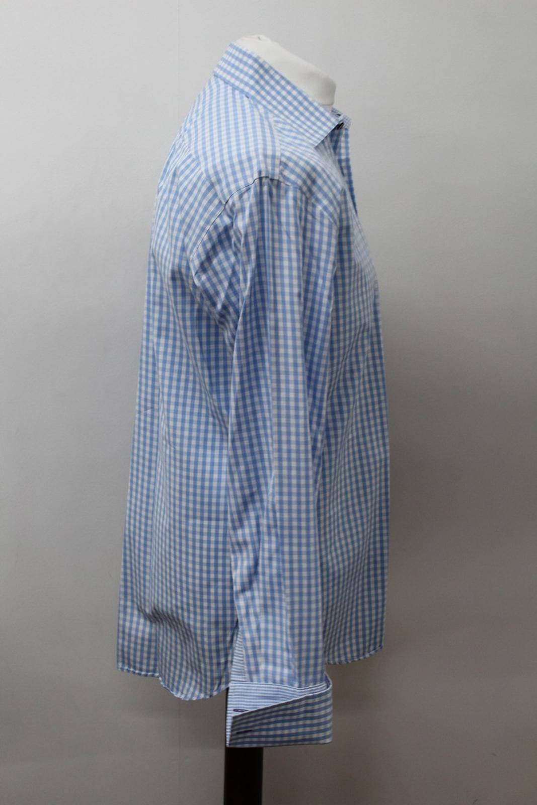 Paul-Smith-Para-Hombre-Camisa-Azul-Blanco-Algodon-comprobado-Formal-Cuello-16-5-034-42cm miniatura 4