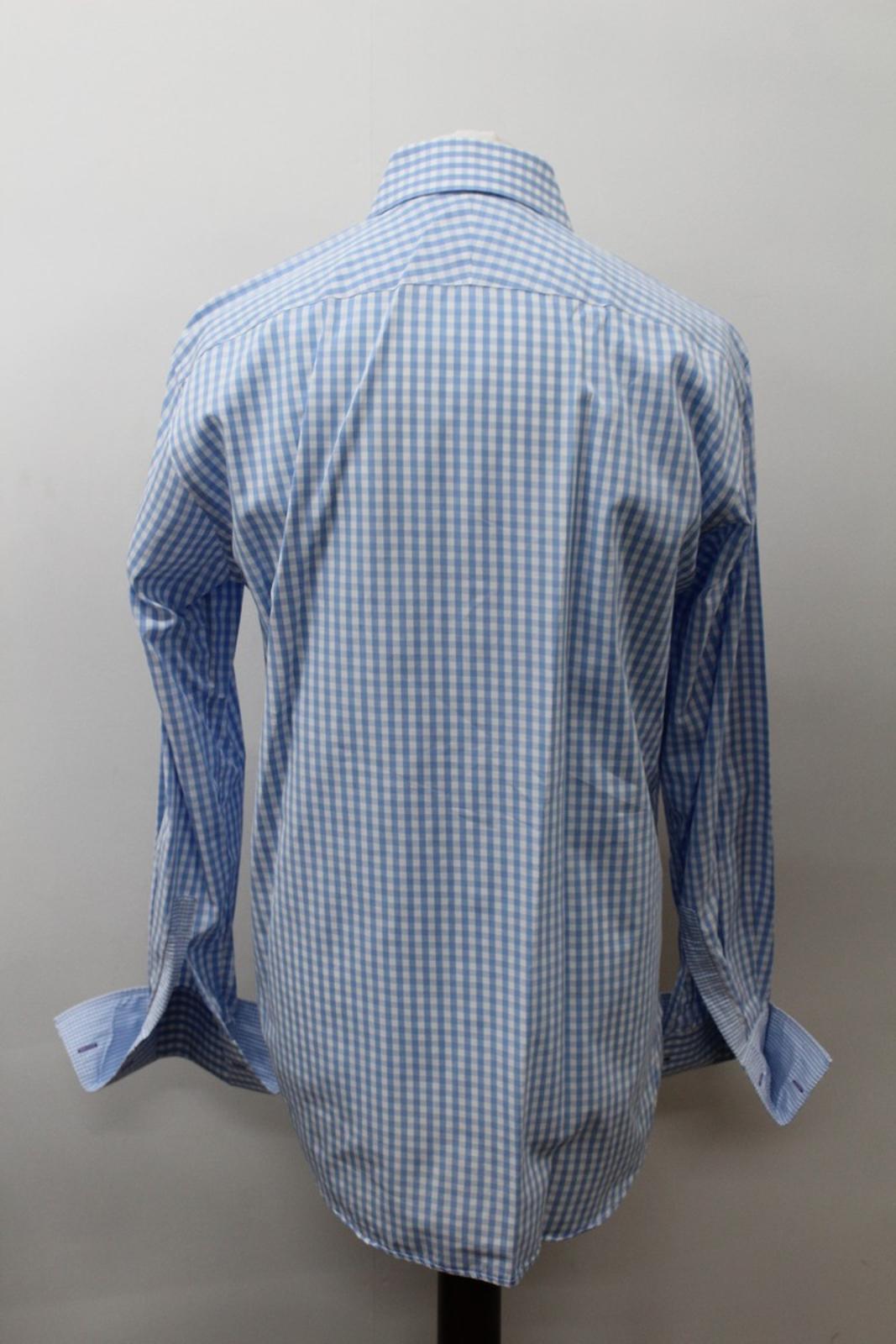 Paul-Smith-Para-Hombre-Camisa-Azul-Blanco-Algodon-comprobado-Formal-Cuello-16-5-034-42cm miniatura 5