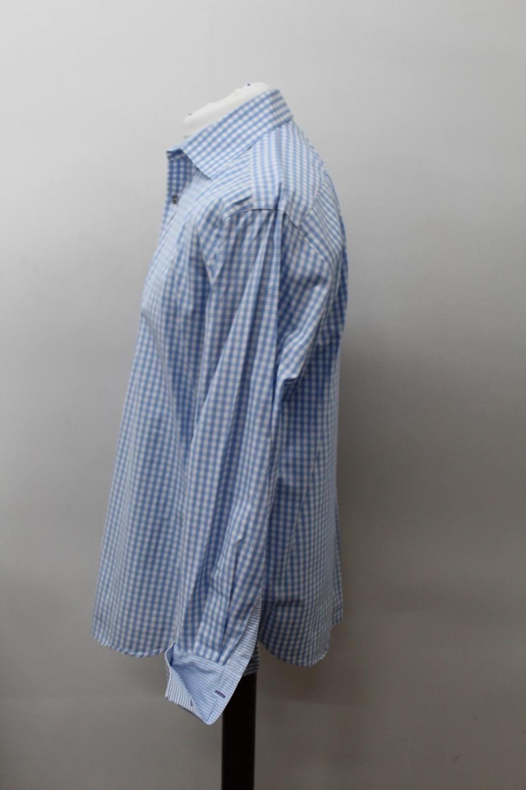Paul-Smith-Para-Hombre-Camisa-Azul-Blanco-Algodon-comprobado-Formal-Cuello-16-5-034-42cm miniatura 6