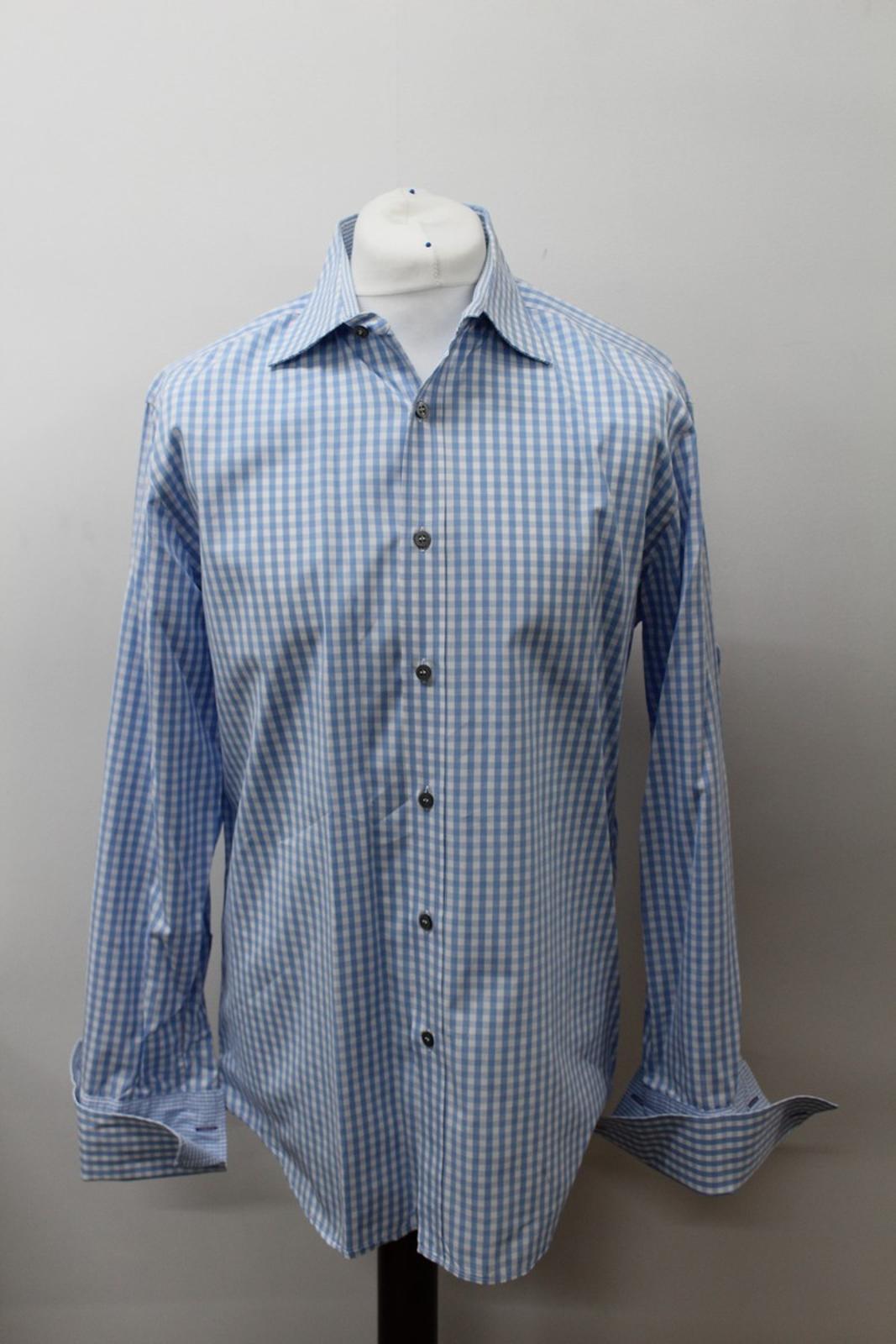 Paul-Smith-Para-Hombre-Camisa-Azul-Blanco-Algodon-comprobado-Formal-Cuello-16-5-034-42cm miniatura 7