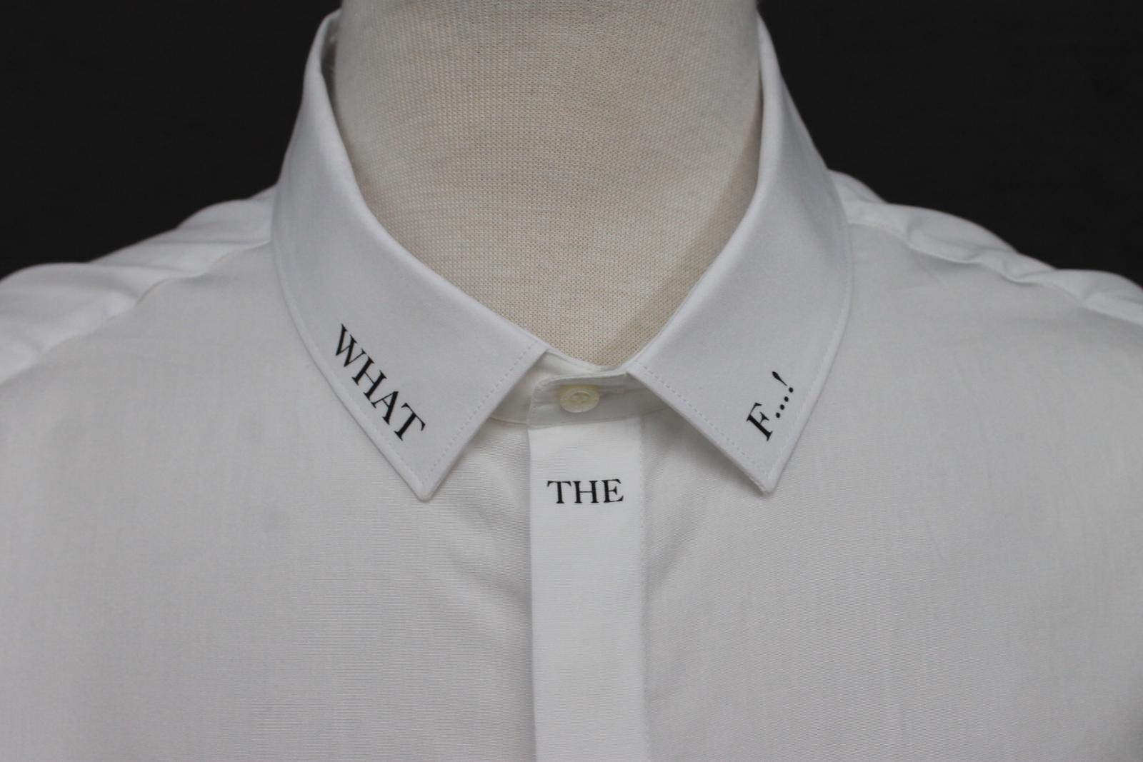 Neil-Barrett-Hombre-Blanco-De-Algodon-Manga-Negra-lo-que-el-F-Con-Cuello-Camisa-17-034 miniatura 3