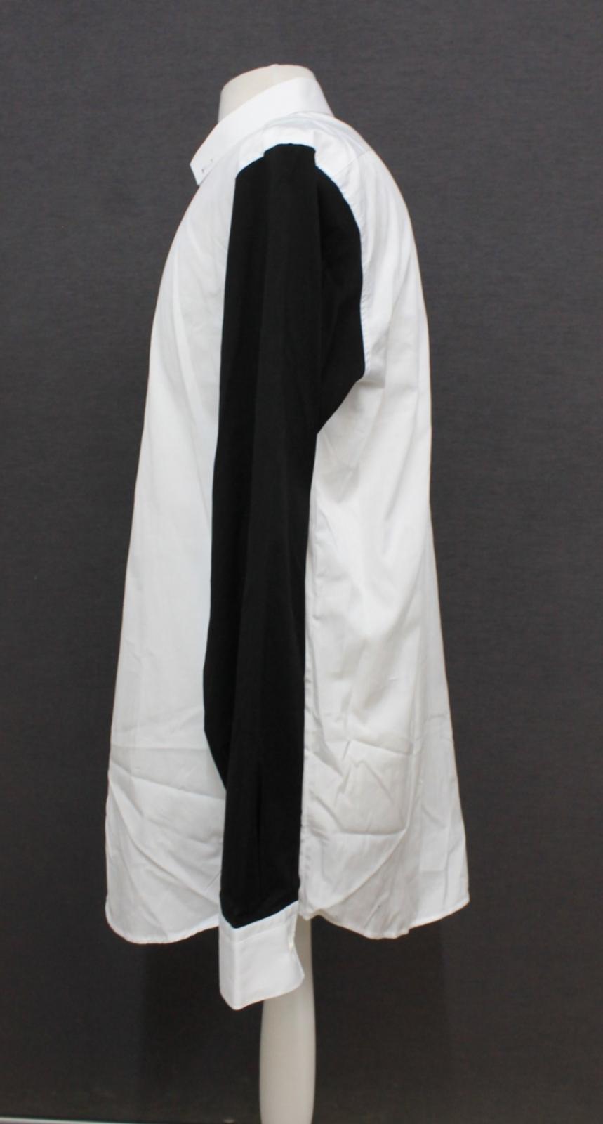 Neil-Barrett-Hombre-Blanco-De-Algodon-Manga-Negra-lo-que-el-F-Con-Cuello-Camisa-17-034 miniatura 6