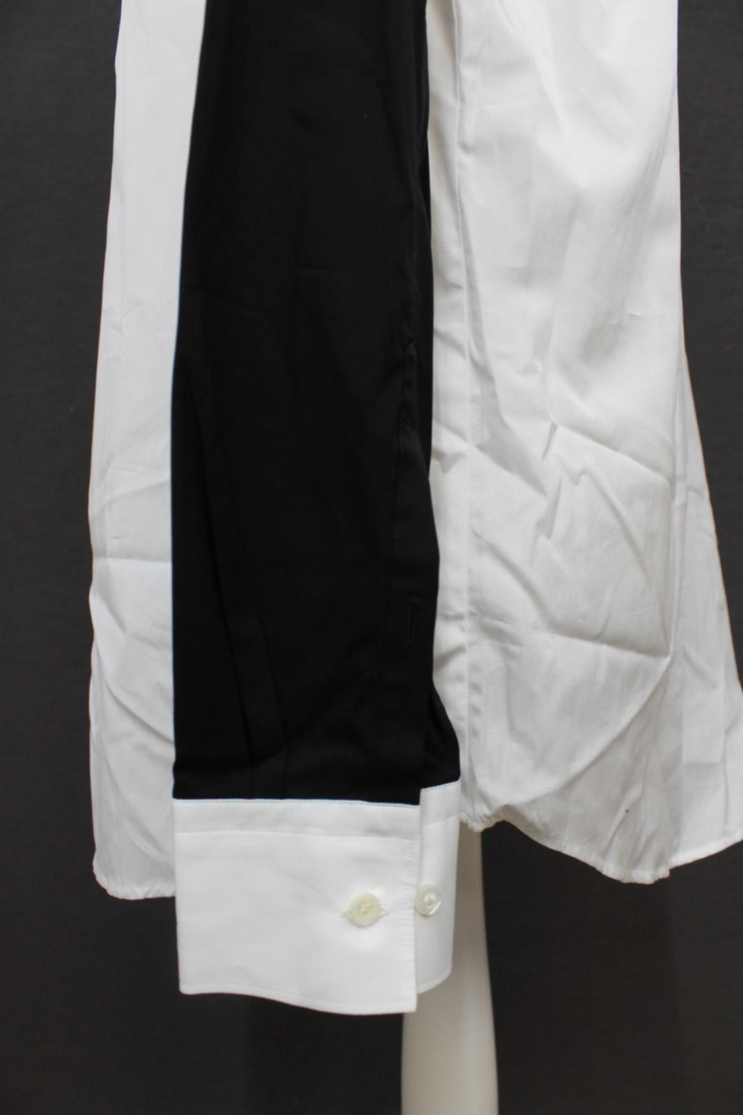 Neil-Barrett-Hombre-Blanco-De-Algodon-Manga-Negra-lo-que-el-F-Con-Cuello-Camisa-17-034 miniatura 7