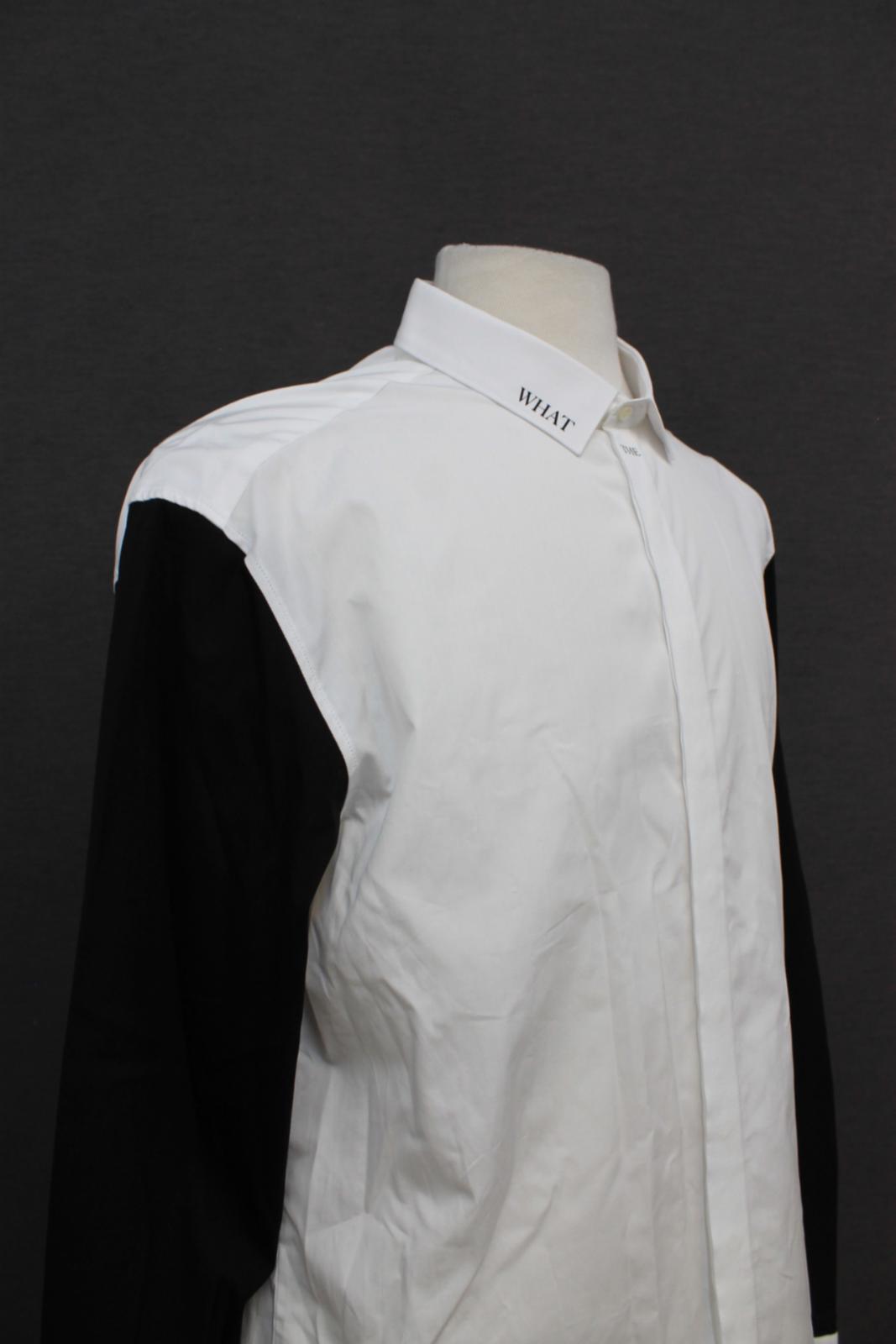 Neil-Barrett-Hombre-Blanco-De-Algodon-Manga-Negra-lo-que-el-F-Con-Cuello-Camisa-17-034 miniatura 8
