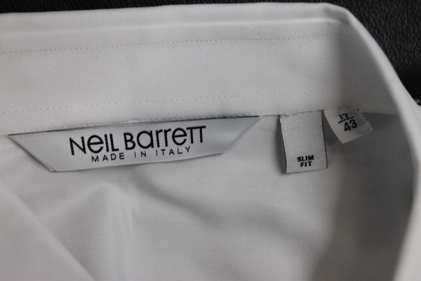 Neil-Barrett-Hombre-Blanco-De-Algodon-Manga-Negra-lo-que-el-F-Con-Cuello-Camisa-17-034 miniatura 9