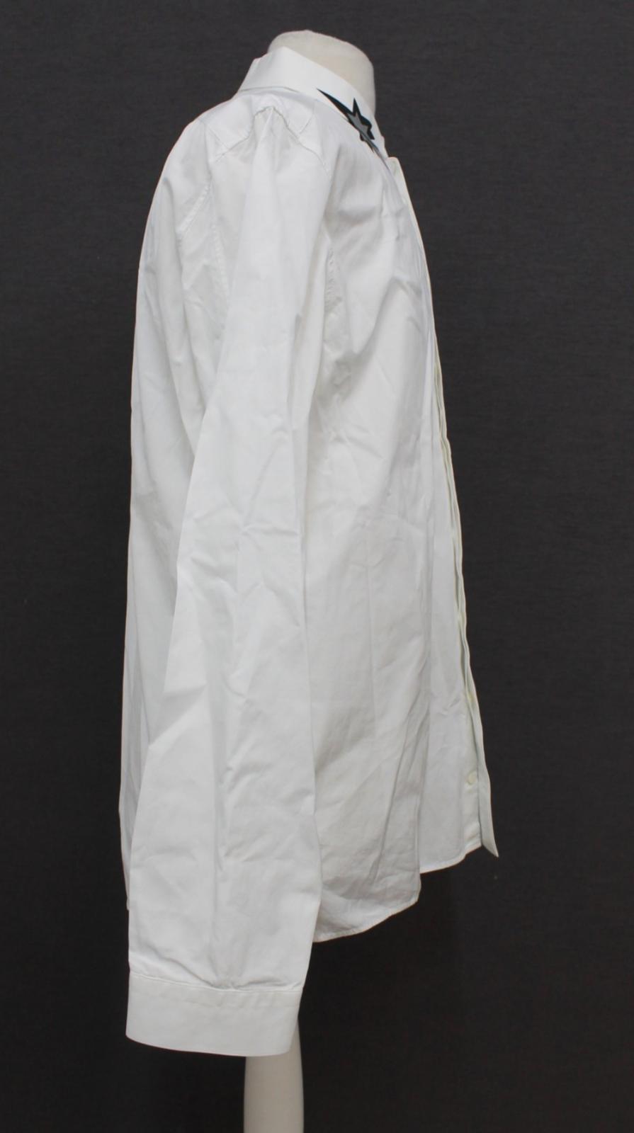 Neil-Barrett-para-hombre-calce-cenido-de-algodon-blanco-cuello-flash-camisa-de-manga-larga-talla-17 miniatura 4