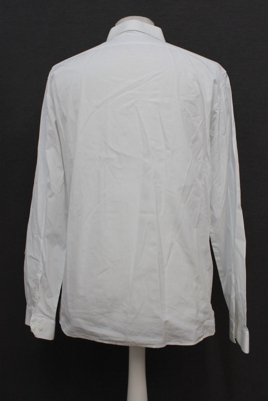 Neil-Barrett-para-hombre-calce-cenido-de-algodon-blanco-cuello-flash-camisa-de-manga-larga-talla-17 miniatura 5