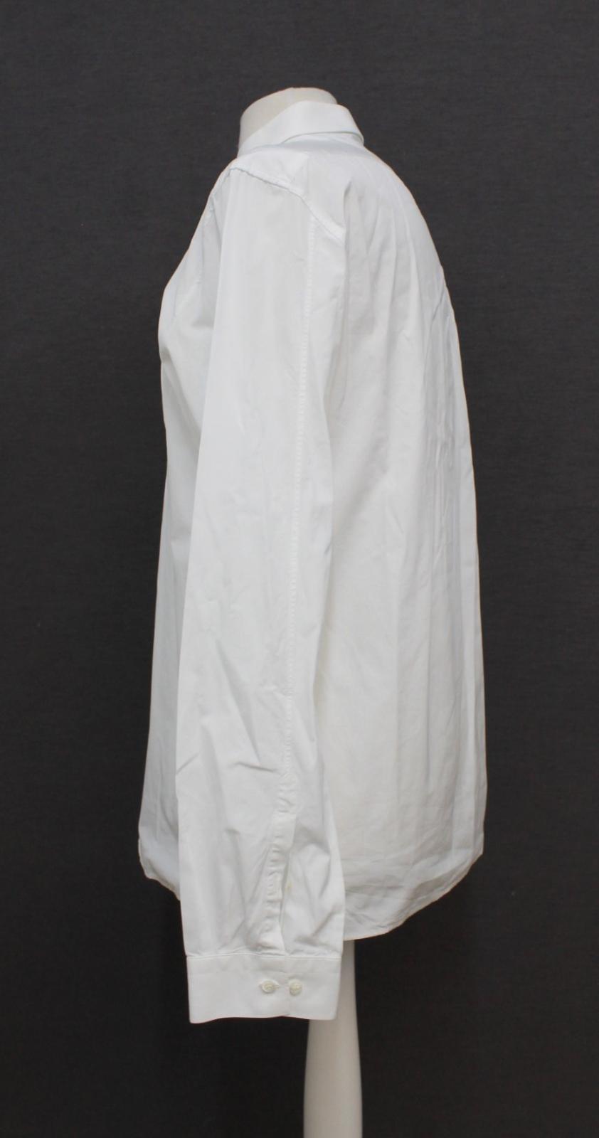 Neil-Barrett-para-hombre-calce-cenido-de-algodon-blanco-cuello-flash-camisa-de-manga-larga-talla-17 miniatura 6
