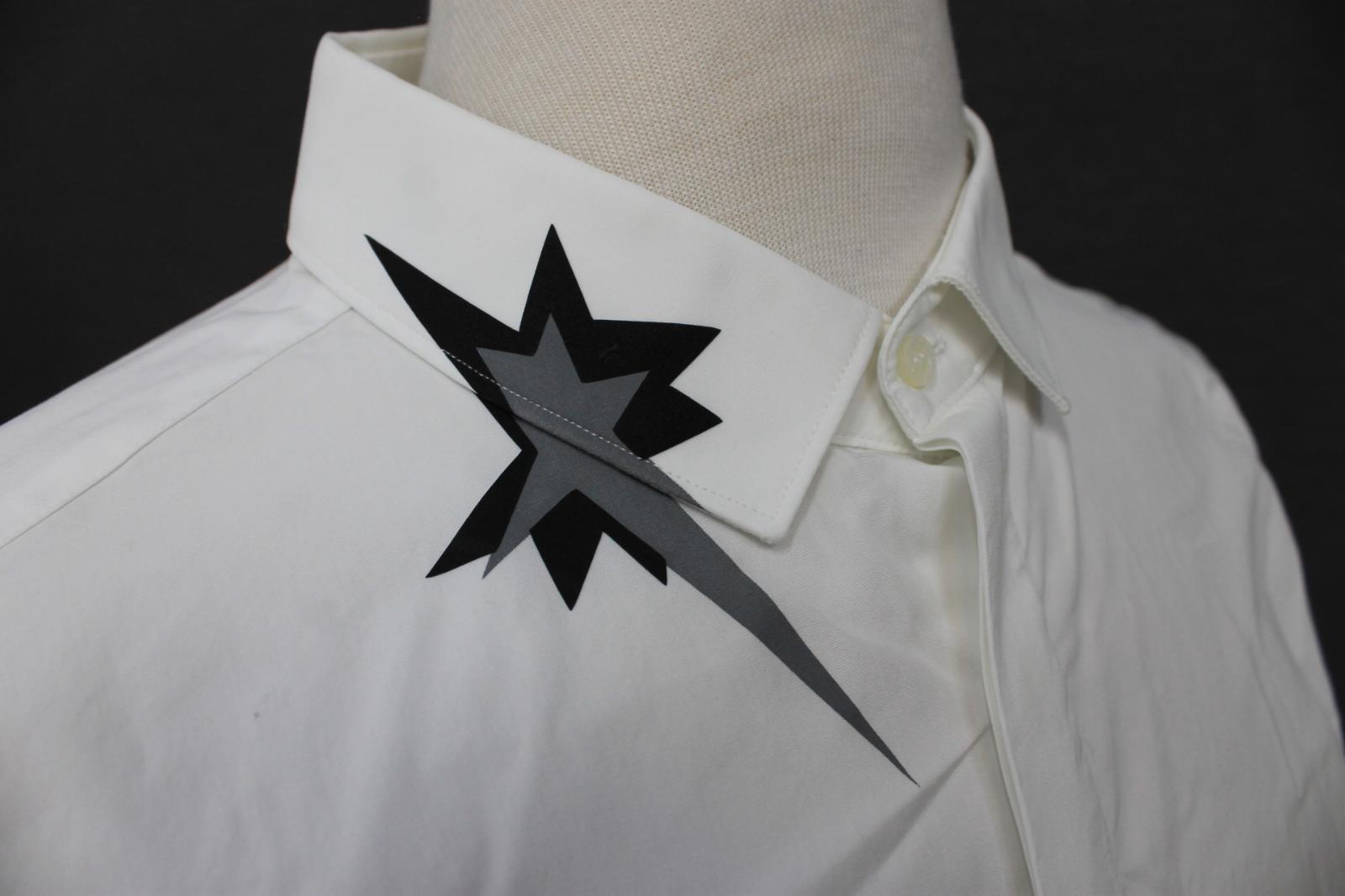 Neil-Barrett-para-hombre-calce-cenido-de-algodon-blanco-cuello-flash-camisa-de-manga-larga-talla-17 miniatura 8