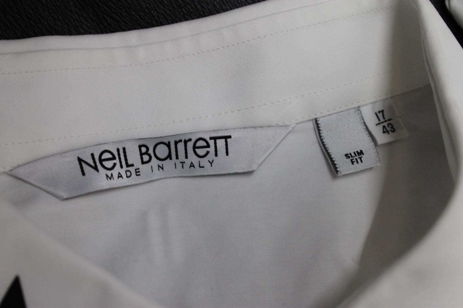 Neil-Barrett-para-hombre-calce-cenido-de-algodon-blanco-cuello-flash-camisa-de-manga-larga-talla-17 miniatura 9