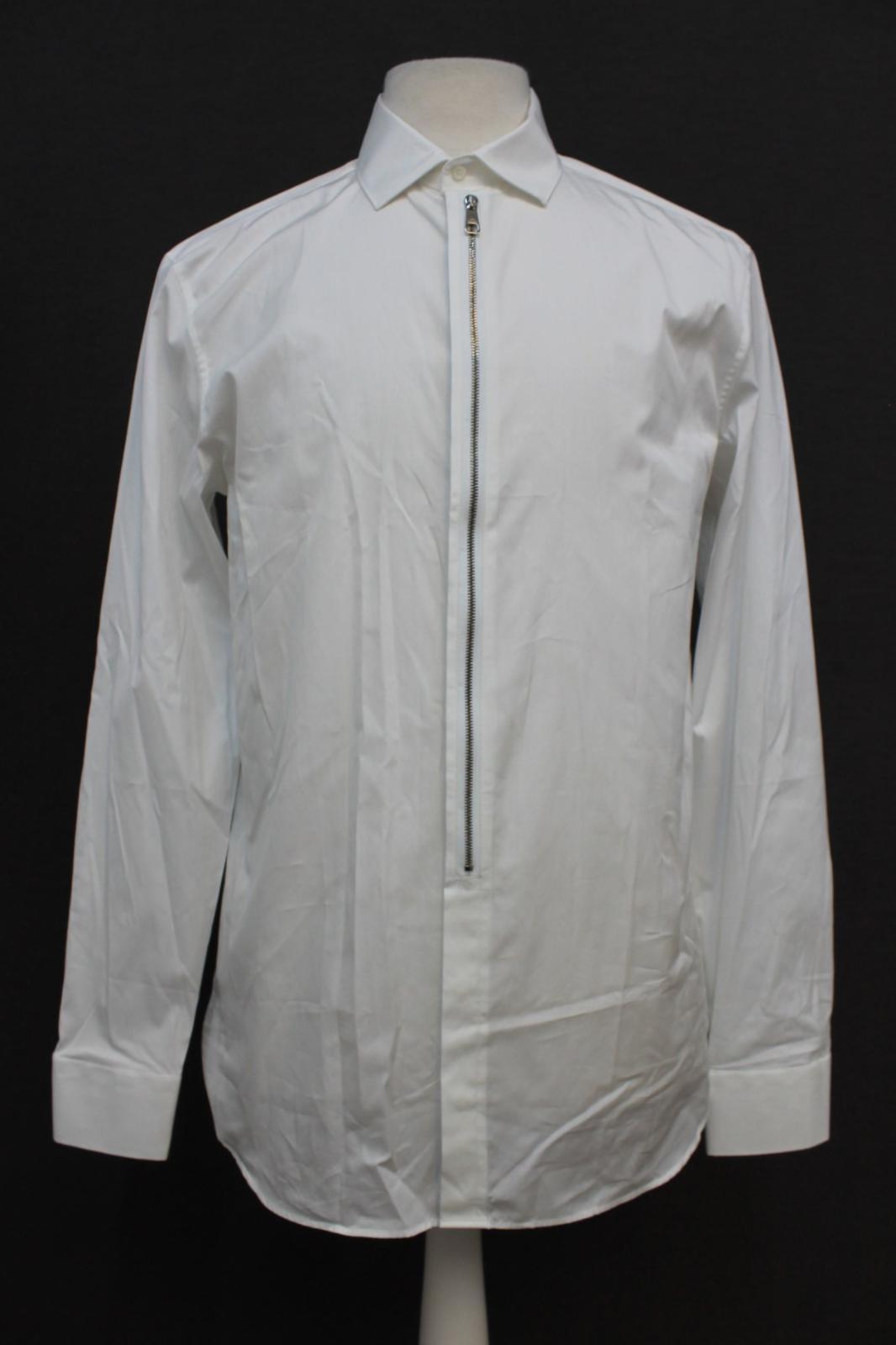 Neil-Barrett-para-hombre-calce-cenido-de-algodon-blanco-frontal-con-cremallera-con-cuello-camisa miniatura 2