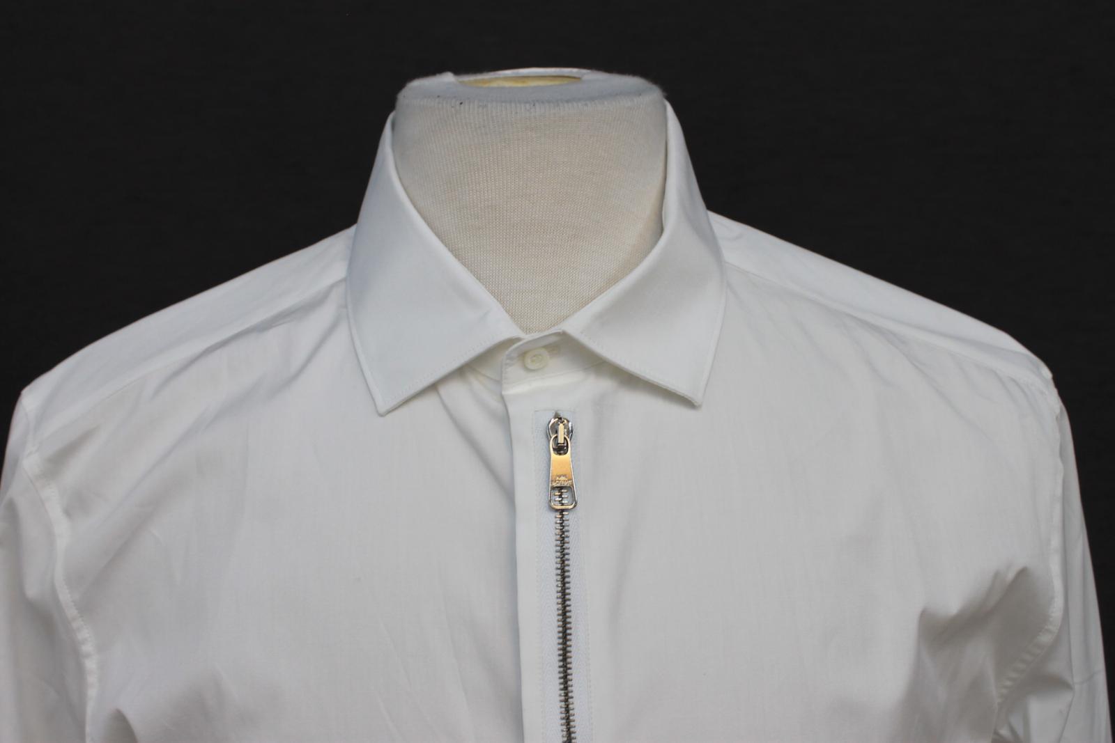 Neil-Barrett-para-hombre-calce-cenido-de-algodon-blanco-frontal-con-cremallera-con-cuello-camisa miniatura 3
