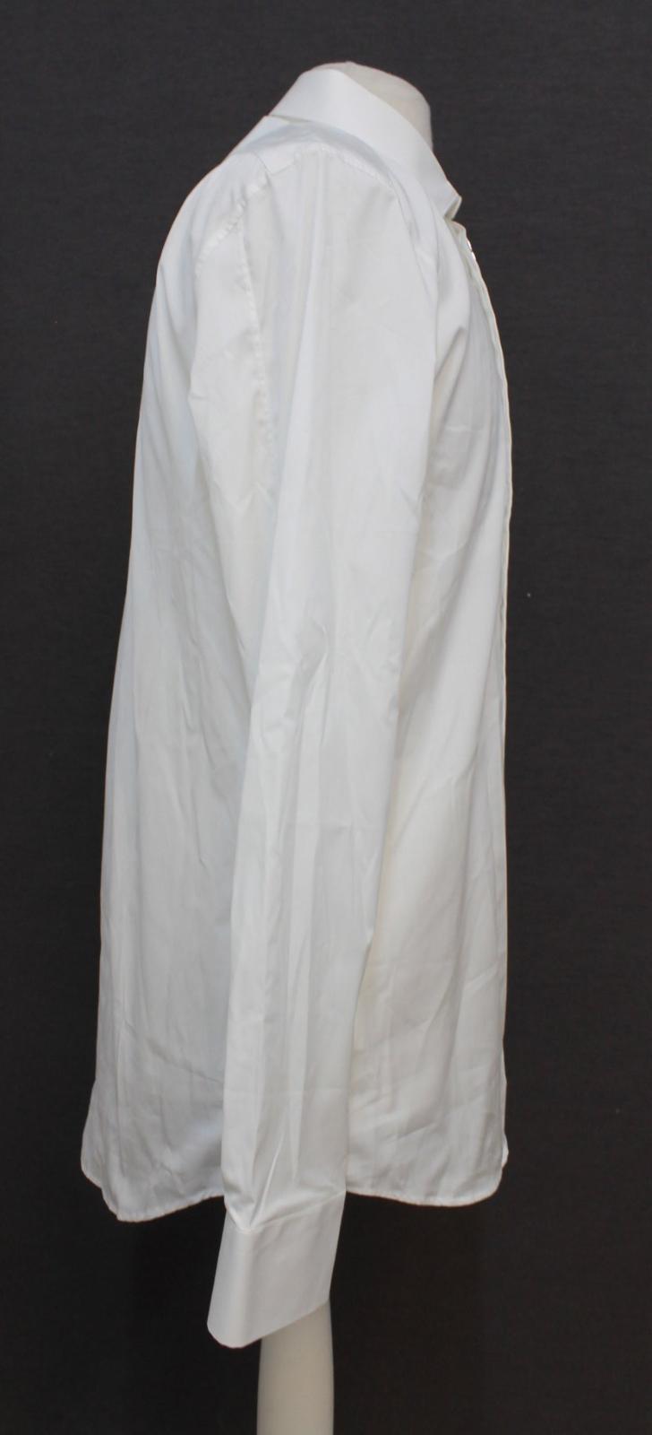 Neil-Barrett-para-hombre-calce-cenido-de-algodon-blanco-frontal-con-cremallera-con-cuello-camisa miniatura 4