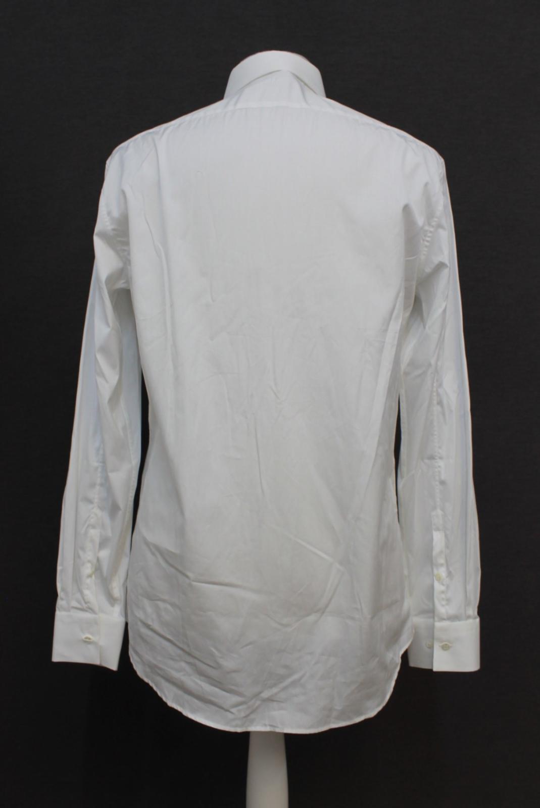Neil-Barrett-para-hombre-calce-cenido-de-algodon-blanco-frontal-con-cremallera-con-cuello-camisa miniatura 5