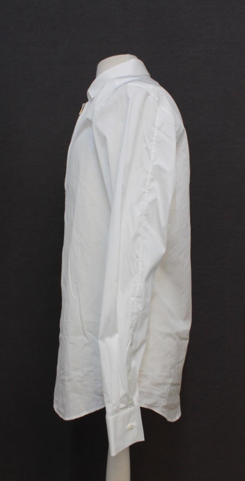 Neil-Barrett-para-hombre-calce-cenido-de-algodon-blanco-frontal-con-cremallera-con-cuello-camisa miniatura 6