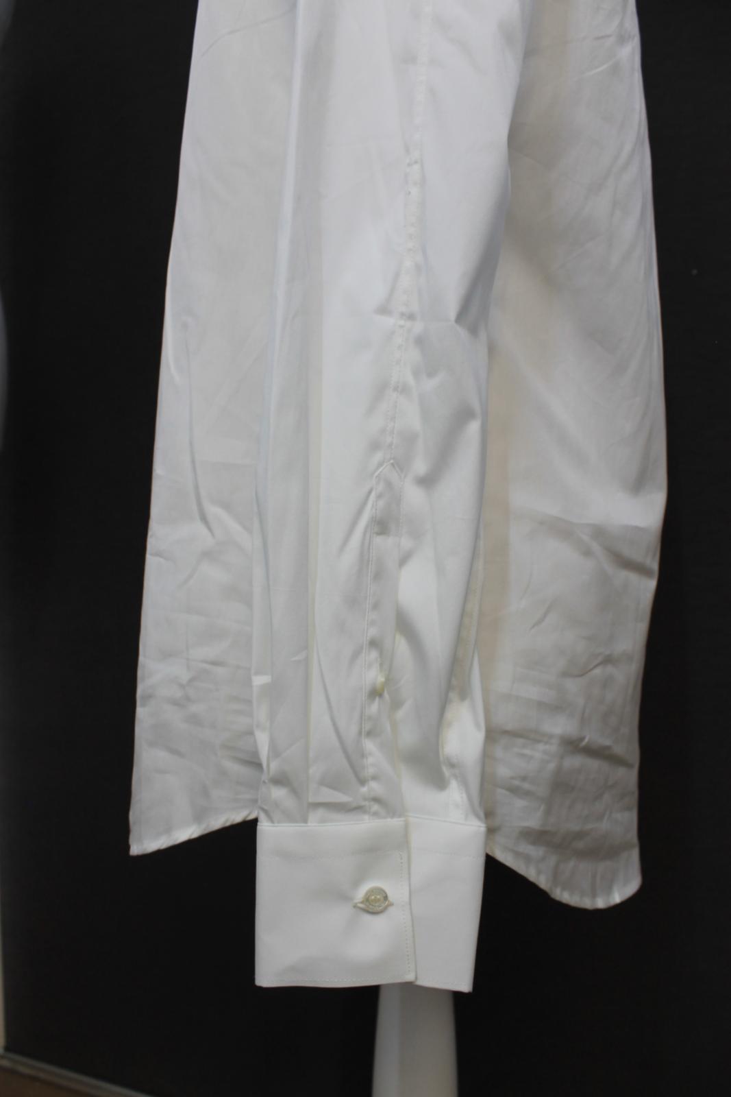 Neil-Barrett-para-hombre-calce-cenido-de-algodon-blanco-frontal-con-cremallera-con-cuello-camisa miniatura 7