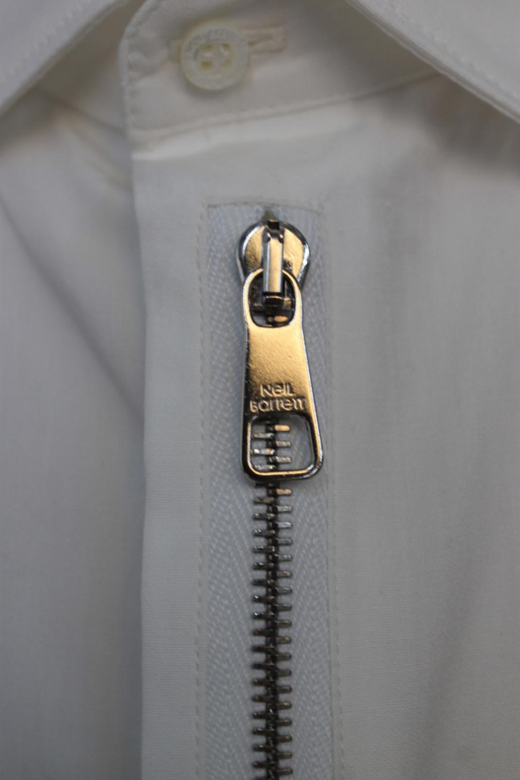 Neil-Barrett-para-hombre-calce-cenido-de-algodon-blanco-frontal-con-cremallera-con-cuello-camisa miniatura 8