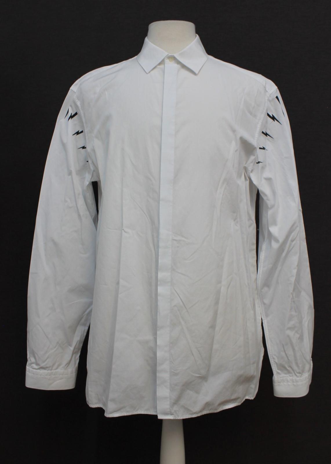Neil-barrett-hombre-blanco-de-algodon-manga-de-Rayo-con-cuello-camisa-tamano-17-5-034 miniatura 2