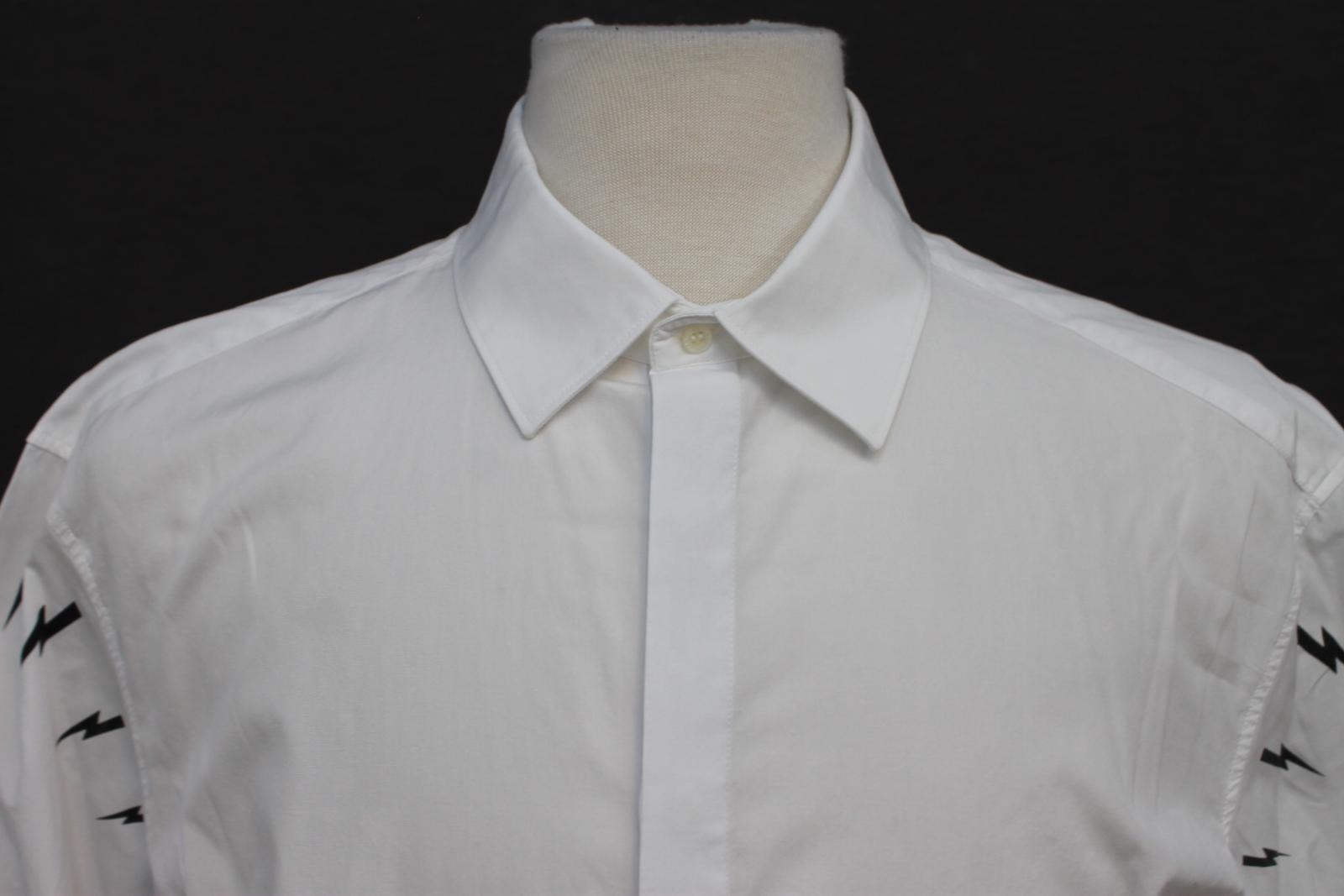Neil-barrett-hombre-blanco-de-algodon-manga-de-Rayo-con-cuello-camisa-tamano-17-5-034 miniatura 3