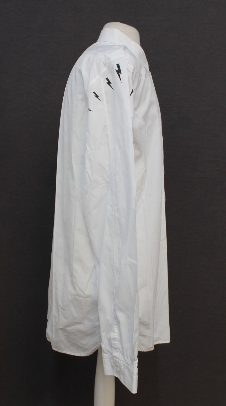 Neil-barrett-hombre-blanco-de-algodon-manga-de-Rayo-con-cuello-camisa-tamano-17-5-034 miniatura 4