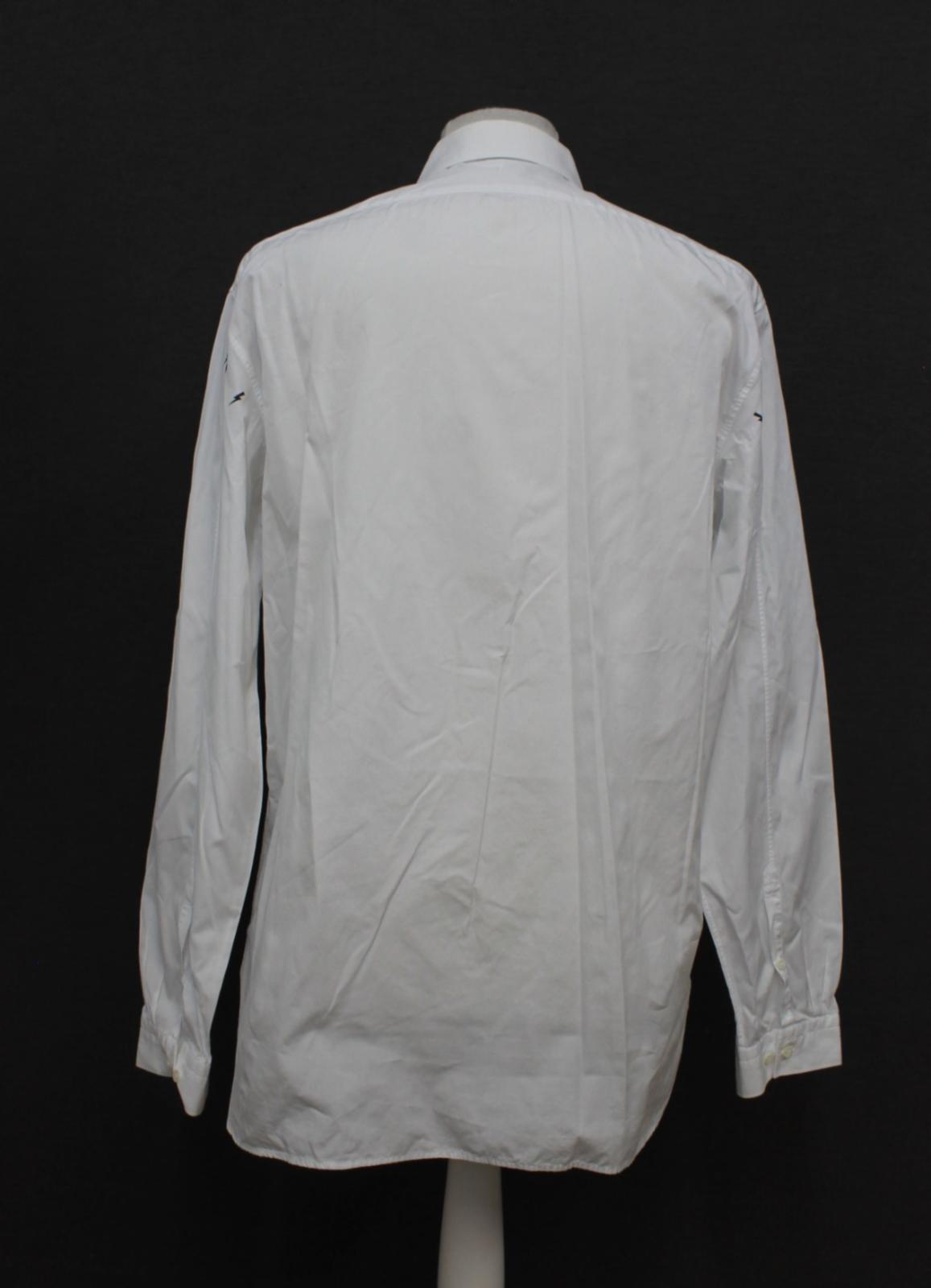 Neil-barrett-hombre-blanco-de-algodon-manga-de-Rayo-con-cuello-camisa-tamano-17-5-034 miniatura 5