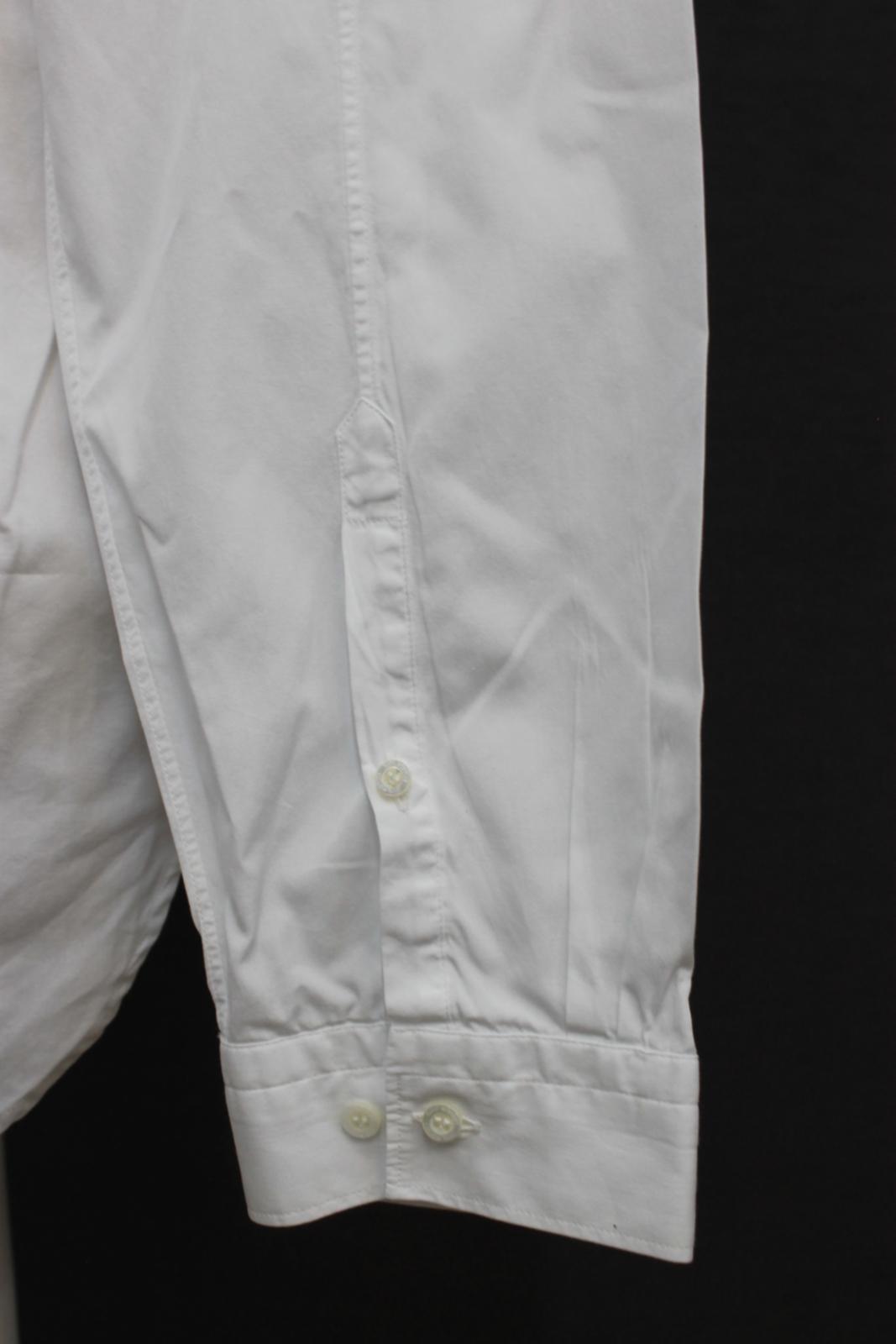 Neil-barrett-hombre-blanco-de-algodon-manga-de-Rayo-con-cuello-camisa-tamano-17-5-034 miniatura 8