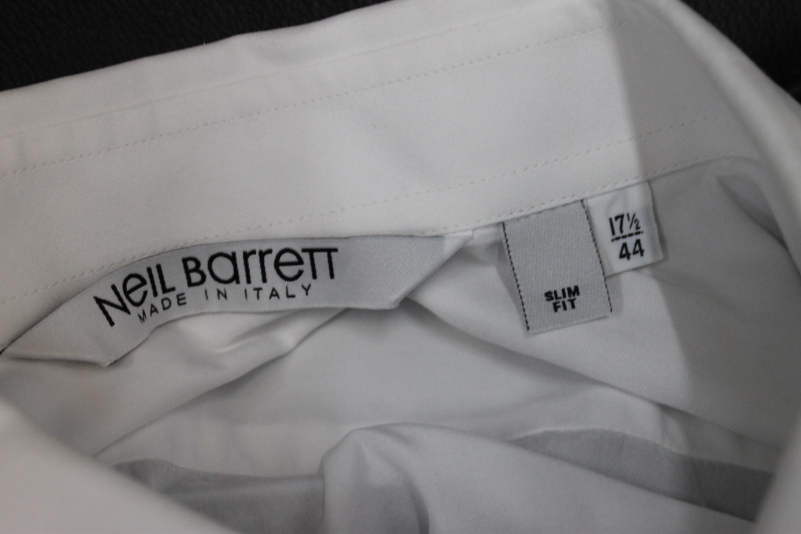 Neil-barrett-hombre-blanco-de-algodon-manga-de-Rayo-con-cuello-camisa-tamano-17-5-034 miniatura 10
