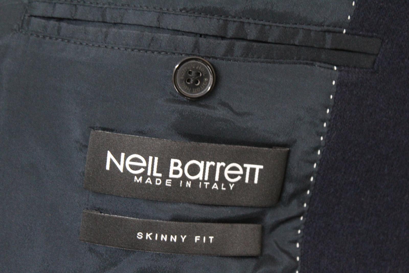 Neil-Barrett-Hombre-Azul-Marino-Imitacion-Cuero-Chaqueta-Blazer-Manga-IT50-UK40 miniatura 8