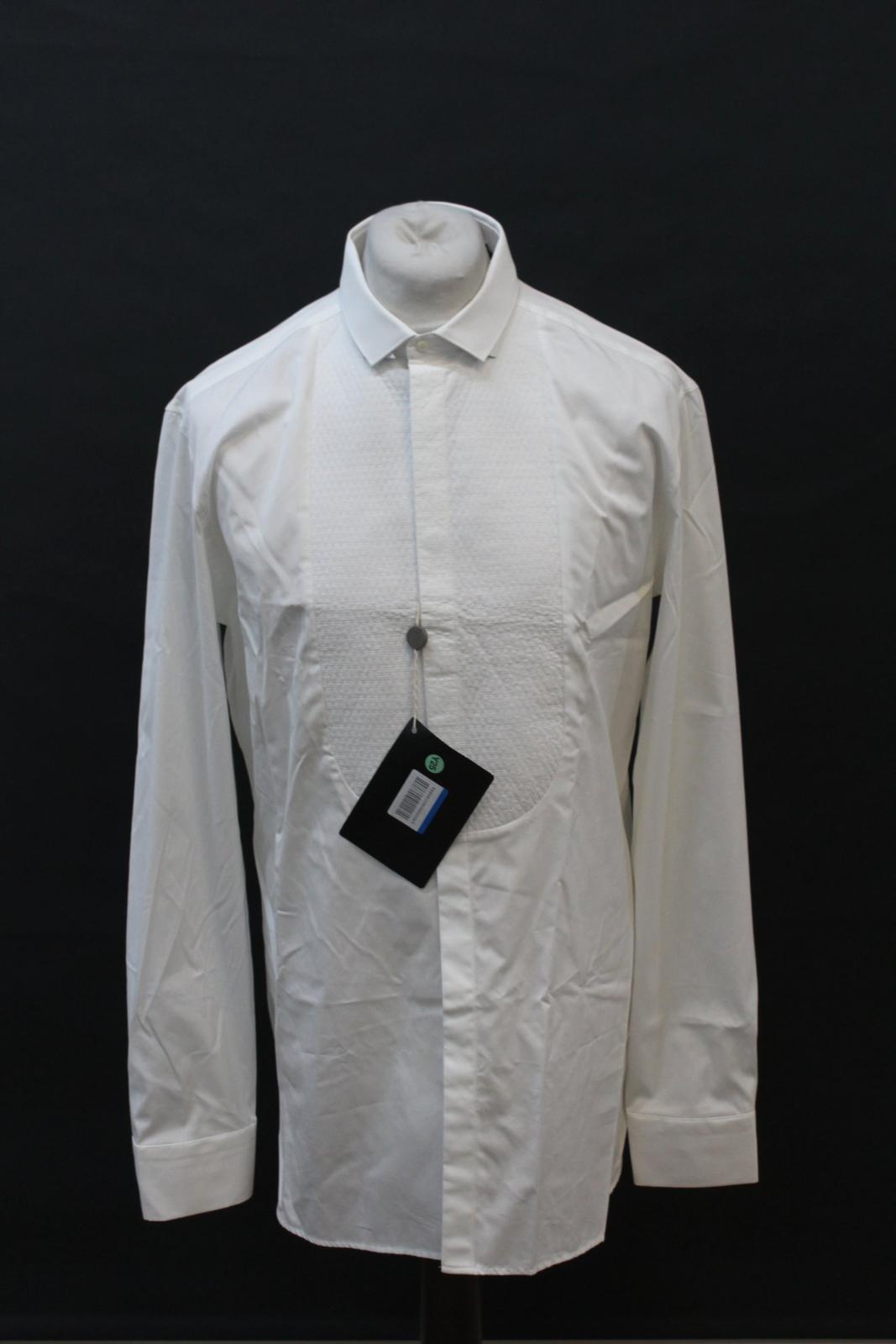 Neil-Barrett-Hombre-Blanco-De-Algodon-Manga-Larga-Camiseta-Formal-Cuello-17-034-43cm-BNWT miniatura 2