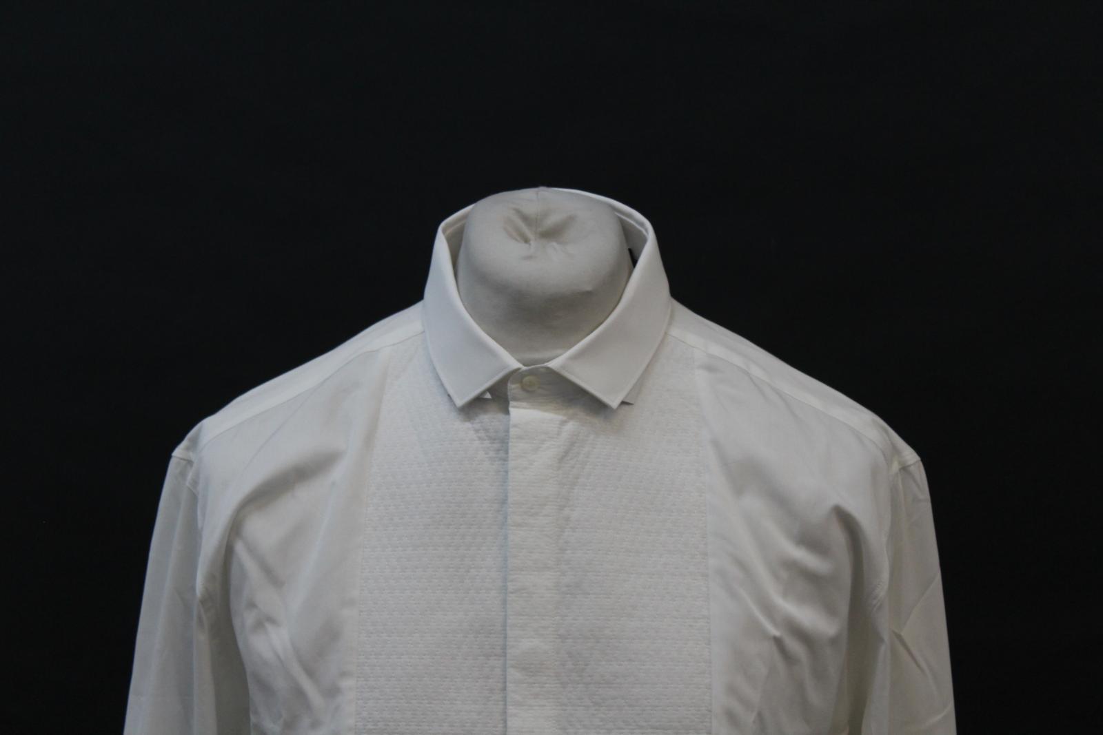 Neil-Barrett-Hombre-Blanco-De-Algodon-Manga-Larga-Camiseta-Formal-Cuello-17-034-43cm-BNWT miniatura 3