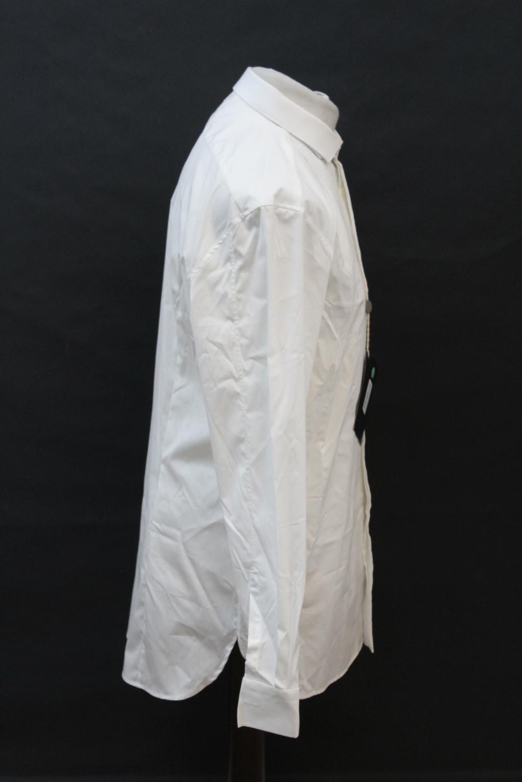 Neil-Barrett-Hombre-Blanco-De-Algodon-Manga-Larga-Camiseta-Formal-Cuello-17-034-43cm-BNWT miniatura 4