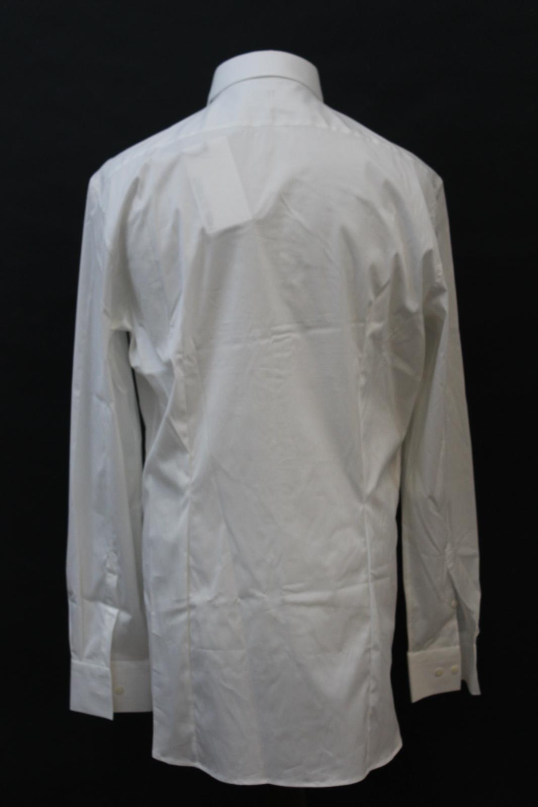Neil-Barrett-Hombre-Blanco-De-Algodon-Manga-Larga-Camiseta-Formal-Cuello-17-034-43cm-BNWT miniatura 5