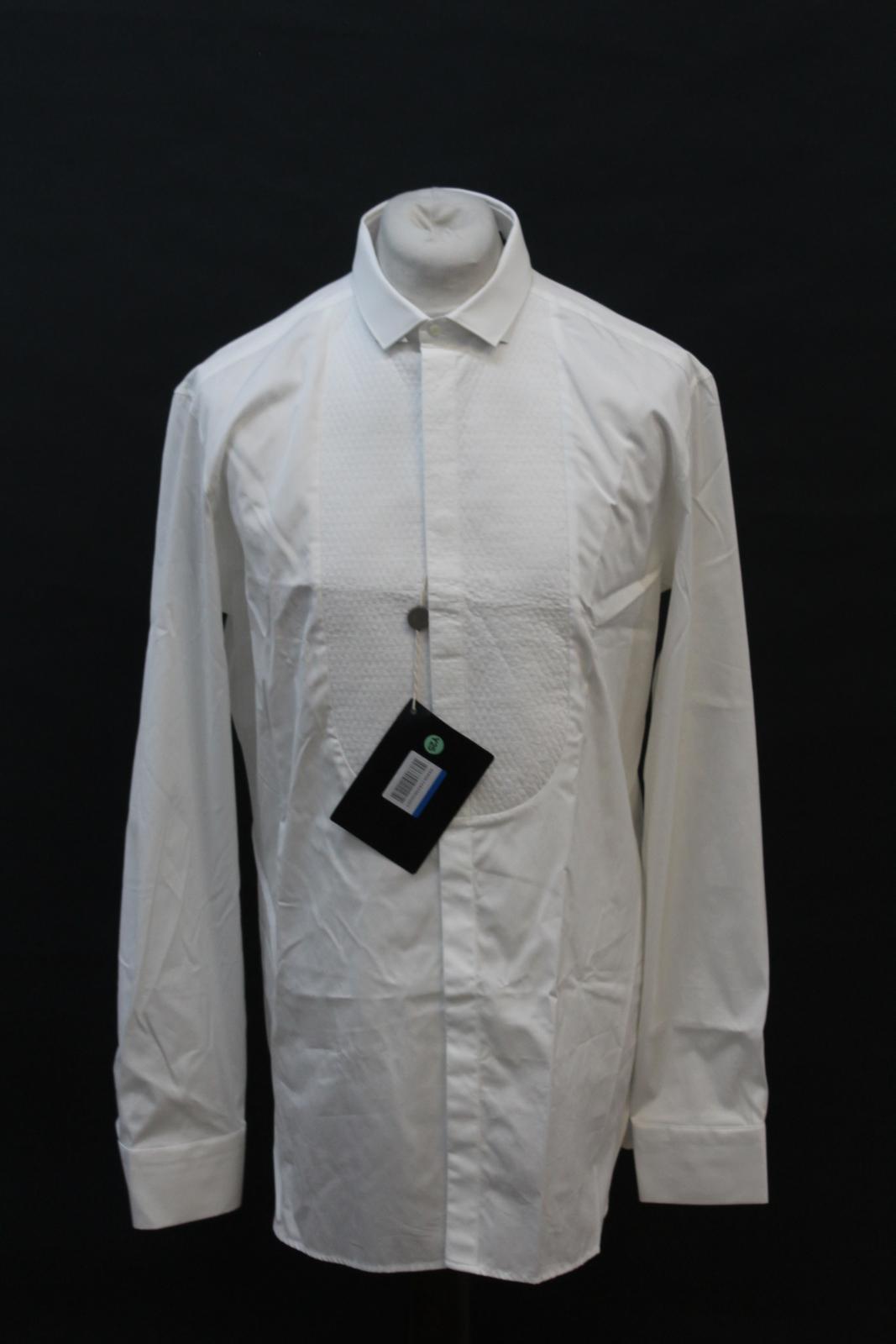 Neil-Barrett-Hombre-Blanco-De-Algodon-Manga-Larga-Camiseta-Formal-Cuello-17-034-43cm-BNWT miniatura 7
