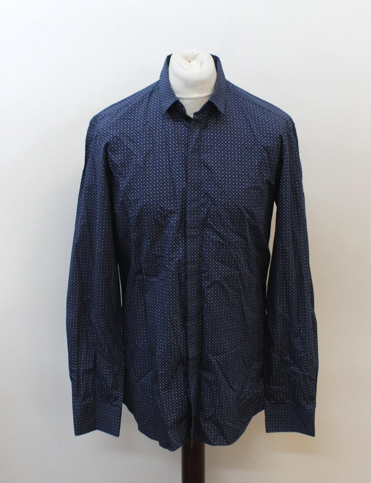 NEIL-BARRETT-Men-039-s-Navy-Blue-Paisley-Slim-Fit-Formal-Shirt-Collar-16-5-034-42cm miniatura 2