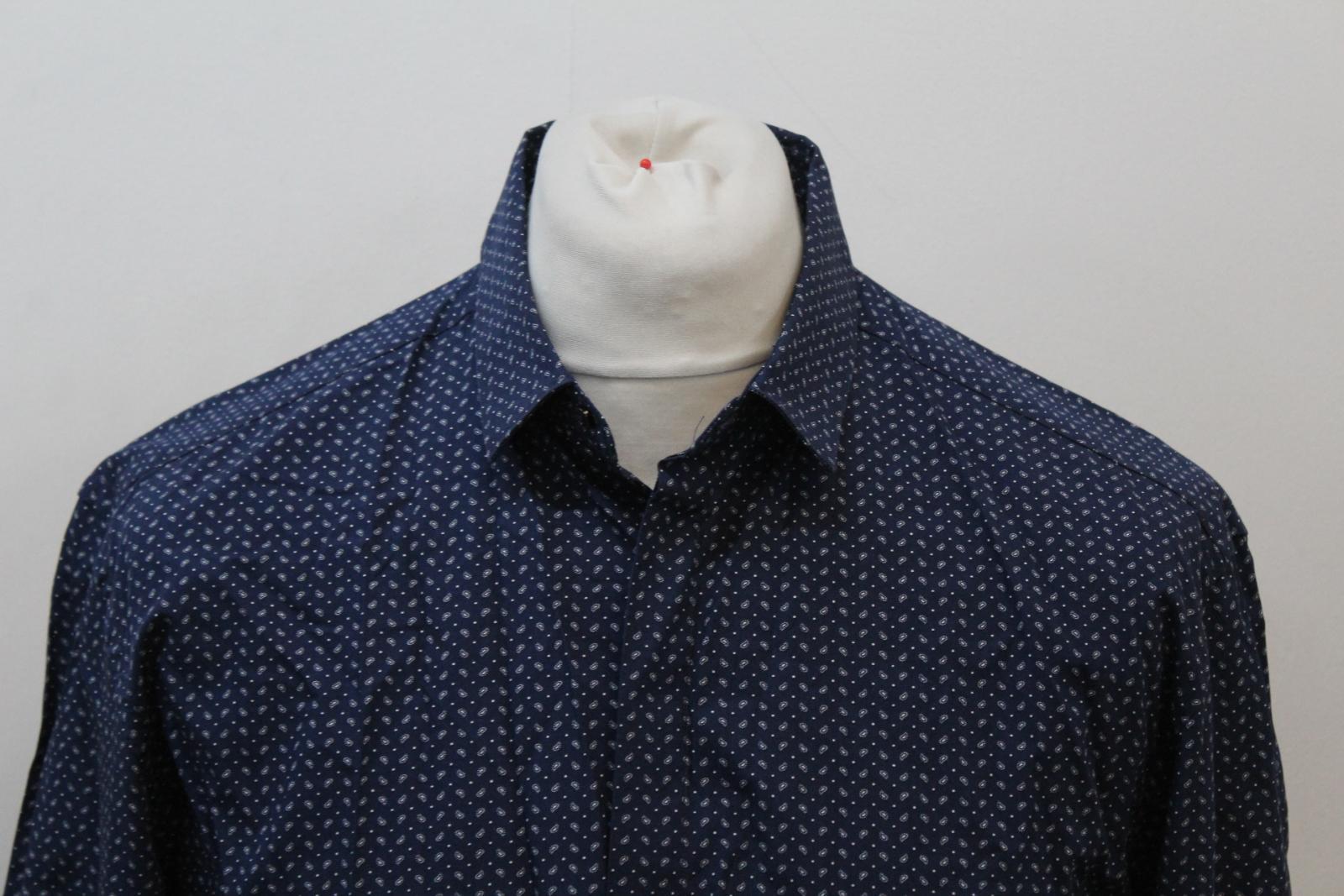 NEIL-BARRETT-Men-039-s-Navy-Blue-Paisley-Slim-Fit-Formal-Shirt-Collar-16-5-034-42cm miniatura 3